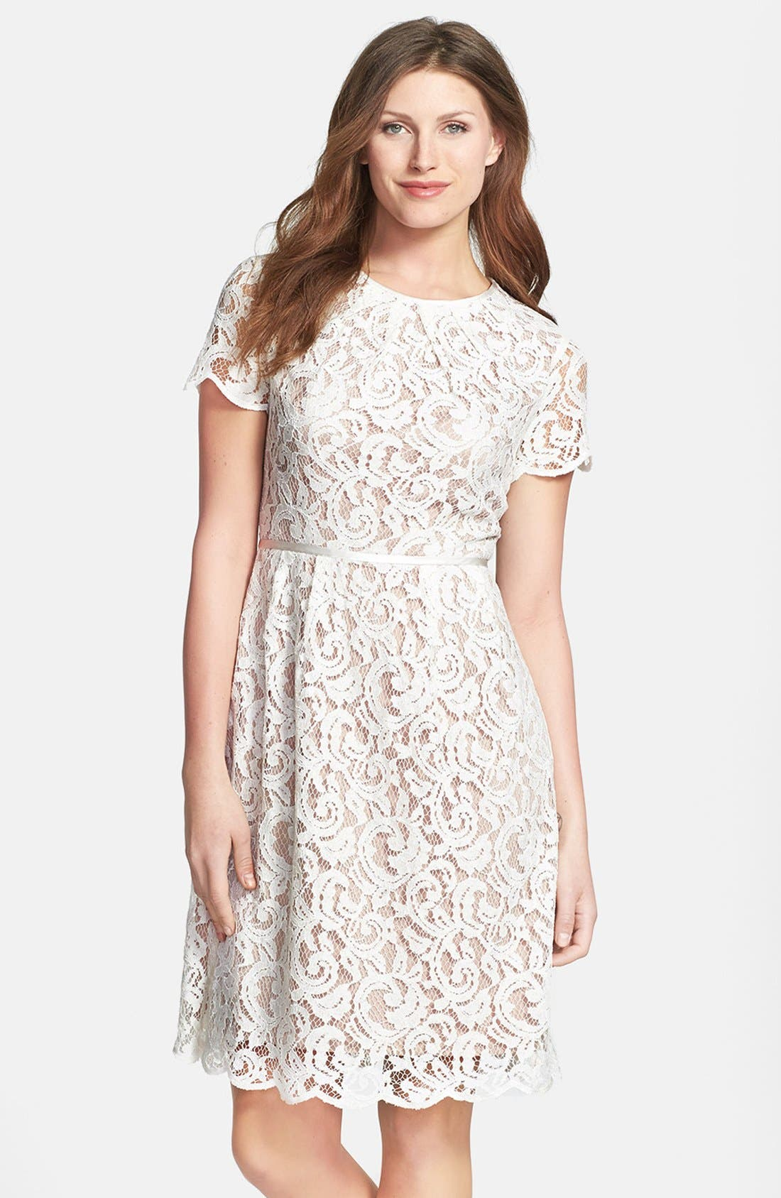 Main Image - Adrianna Papell Scalloped Lace Dress (Regular & Petite)