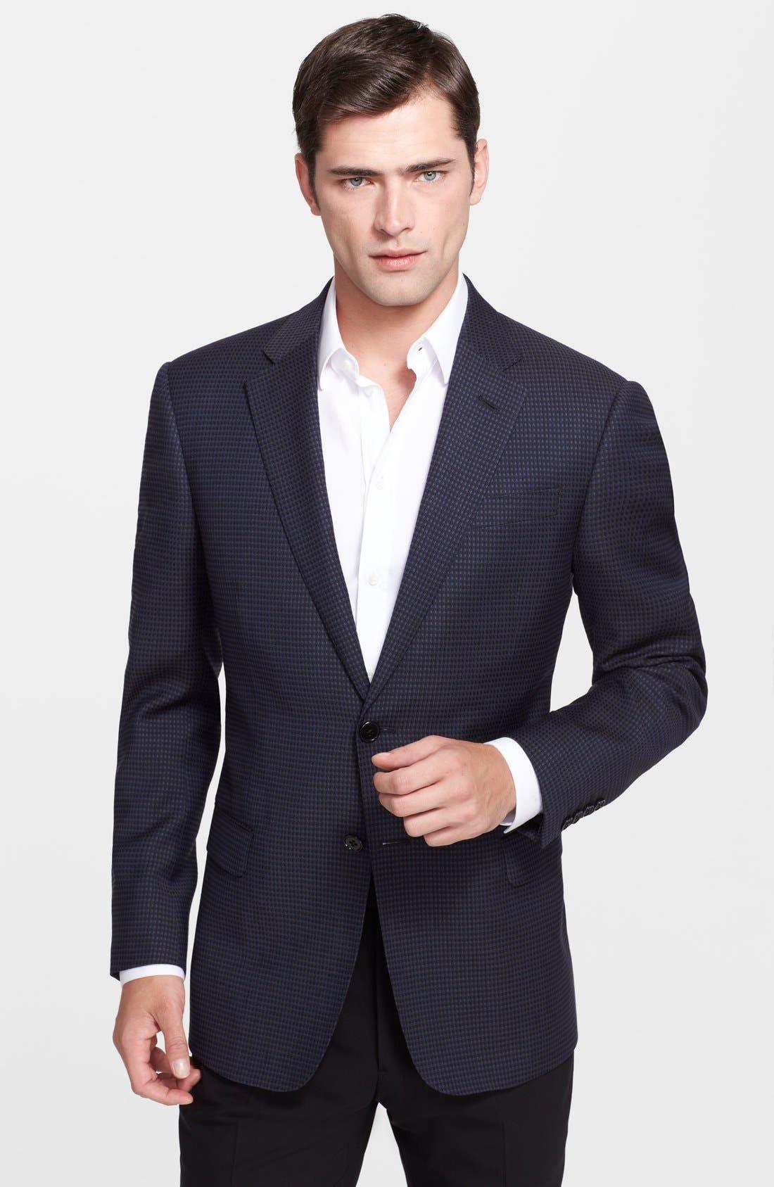 Main Image - Armani Collezioni 'Giorgio' Navy Check Virgin Wool Sport Coat