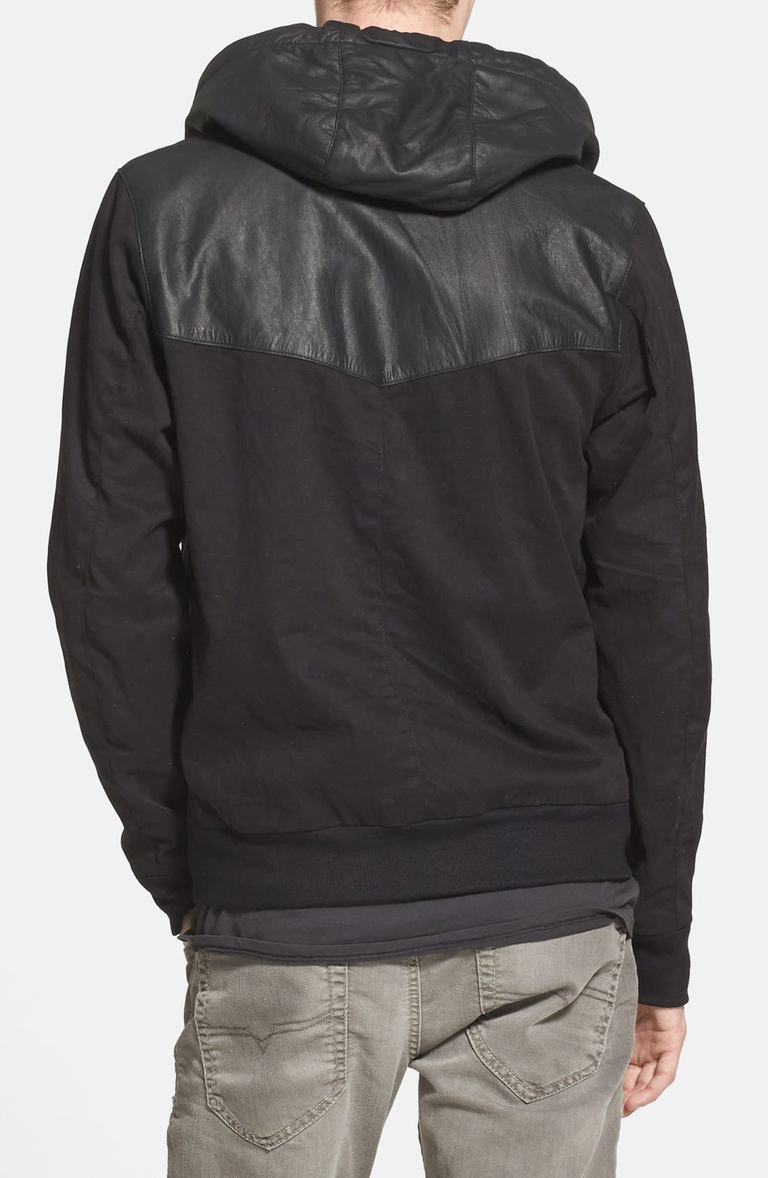 Alternate Image 2  - ZANEROBE Zip Hoodie with Leather Trim (Online Only)