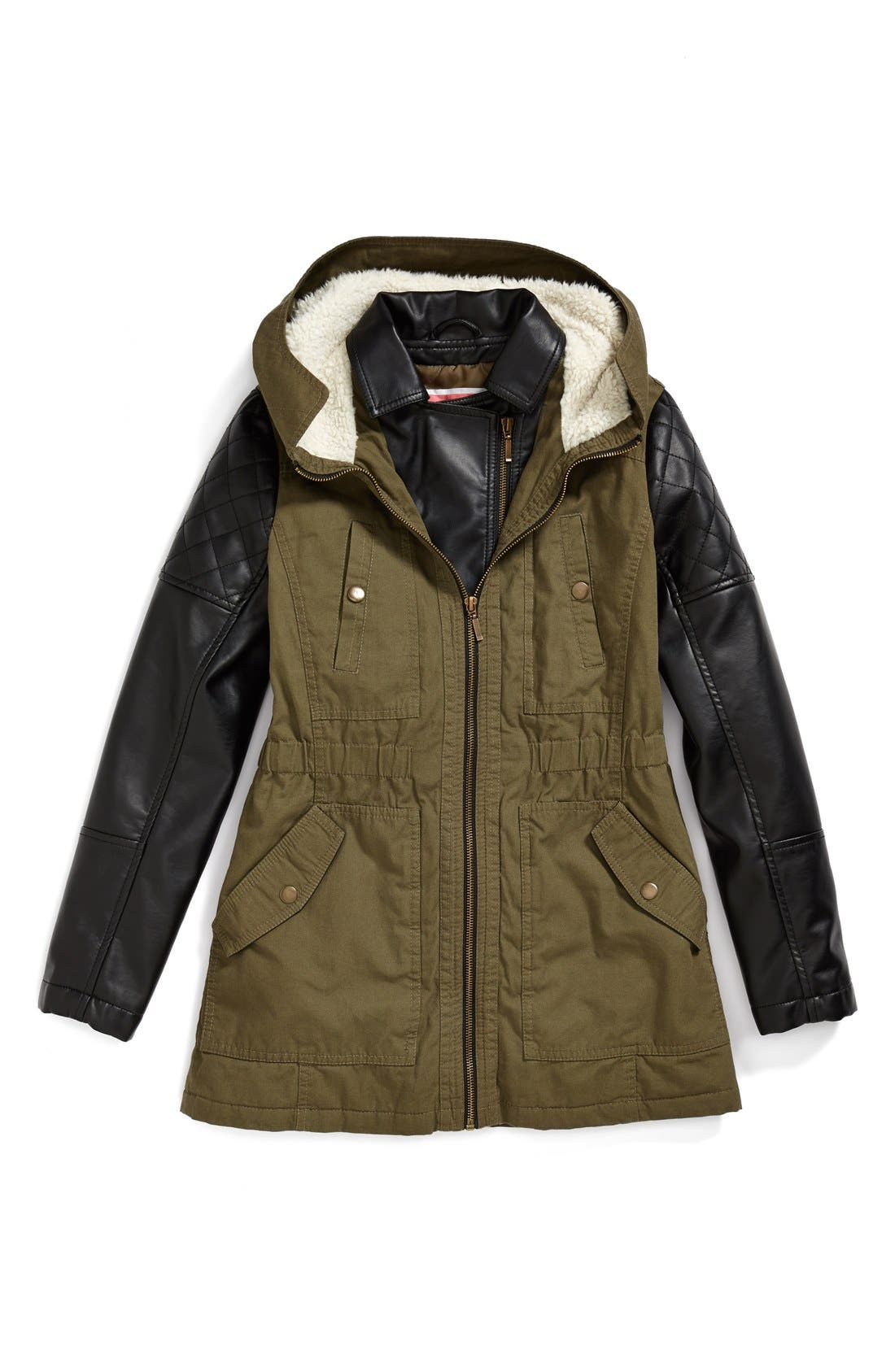 Alternate Image 1 Selected - Collection B 'Samira' Cotton Zip Front Parka (Big Girls)