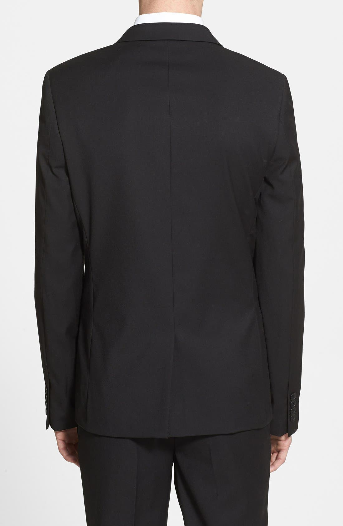 Alternate Image 2  - Topman Black Textured Skinny Fit Suit Jacket