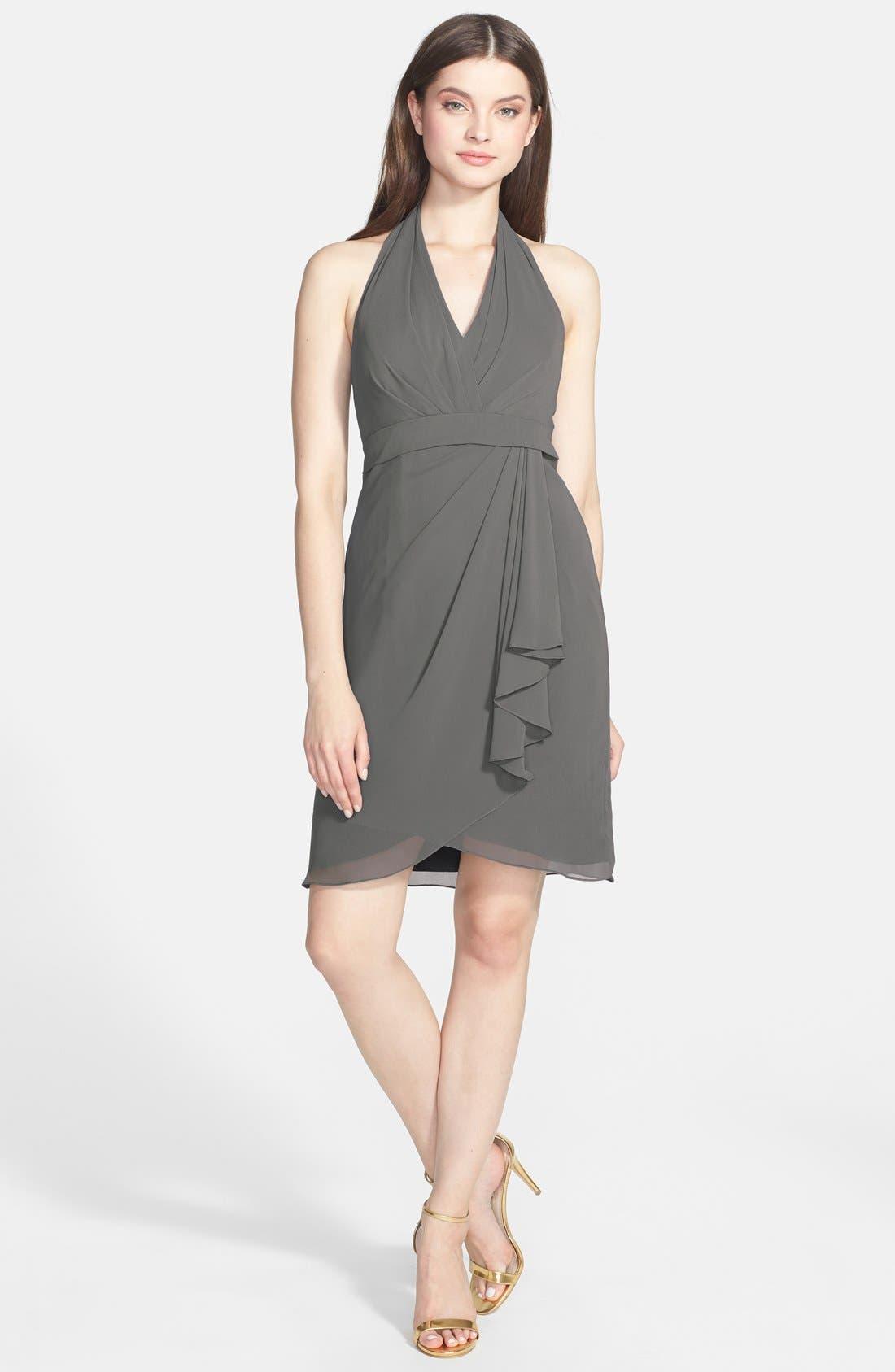Alternate Image 2  - Jenny Yoo 'Tatum' Side Drape Chiffon Halter Dress
