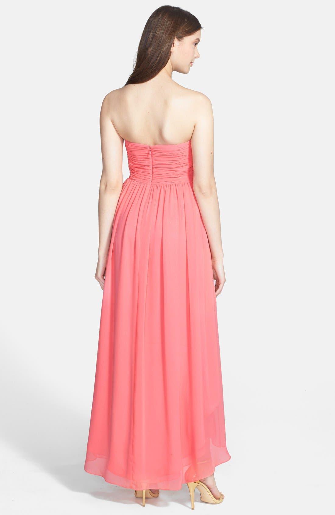 Alternate Image 2  - Eliza J High/Low Chiffon Faux Wrap Long Dress