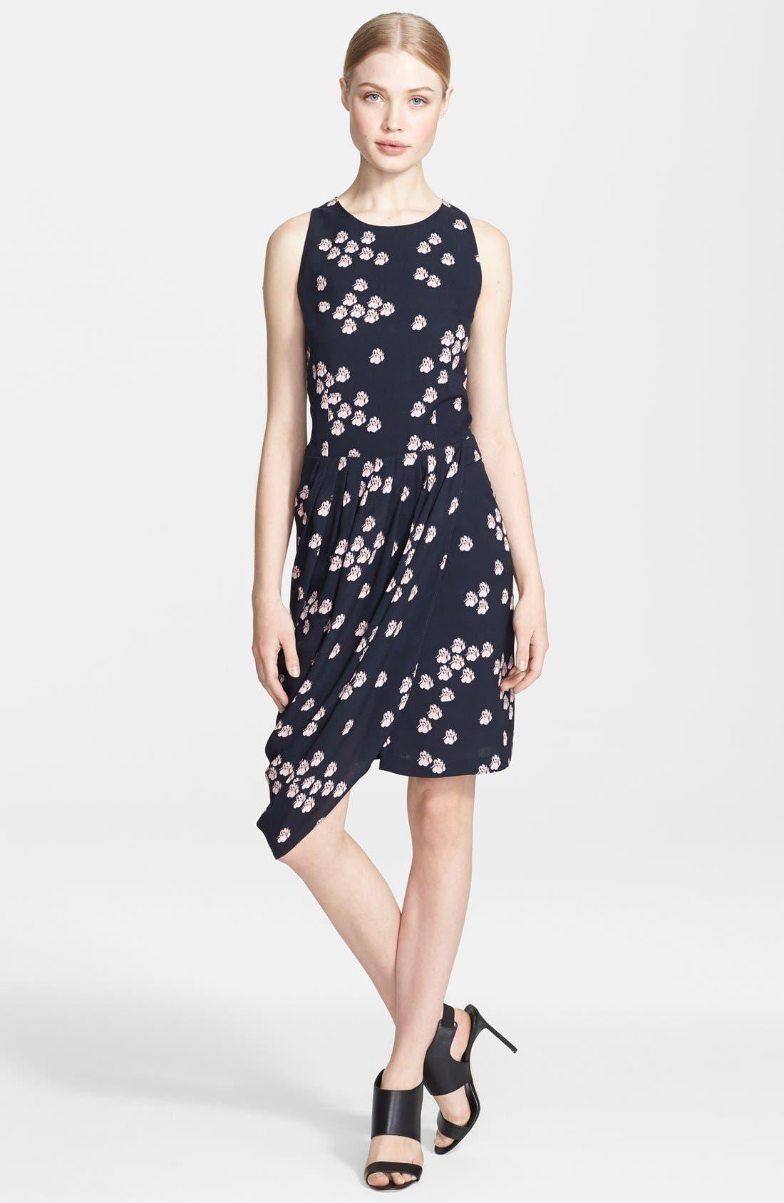 Main Image - A.L.C. 'Eva' Print Side Drape Silk Dress