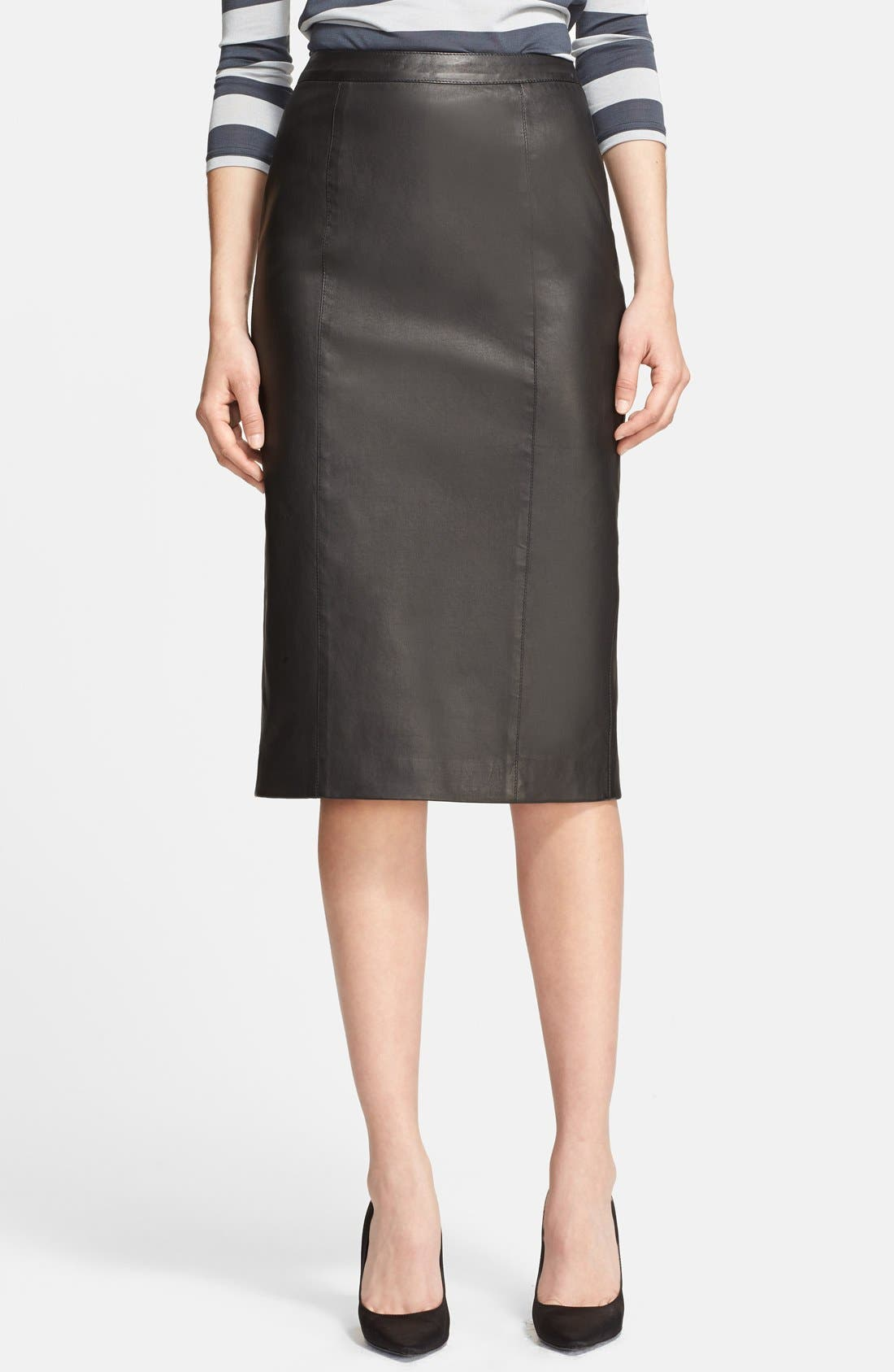 Main Image - Burberry London Leather Pencil Skirt