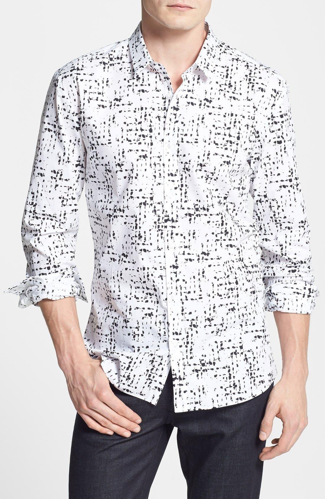 Alternate Image 1 Selected - HUGO 'Ero' Slim Fit Graffiti Print Sport Shirt