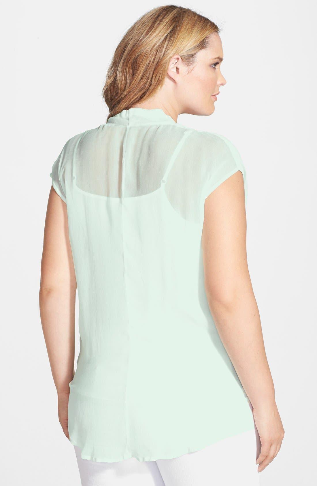 Alternate Image 2  - DKNY Jeans Wrap Front Top (Plus Size)