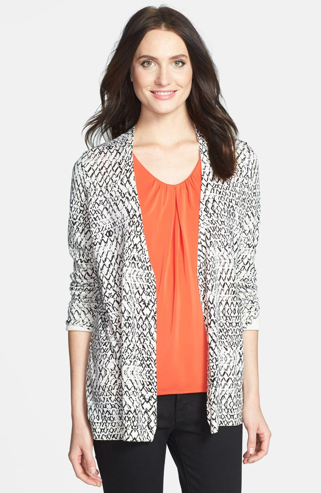 Main Image - Nordstrom Collection Print Woven Back Silk & Cashmere Cardigan