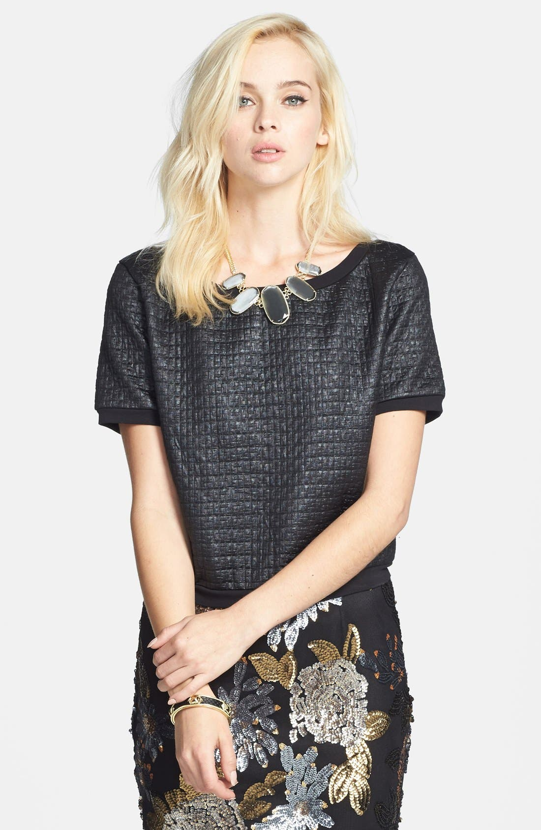 Main Image - Leith Coated Textured Crop Sweatshirt