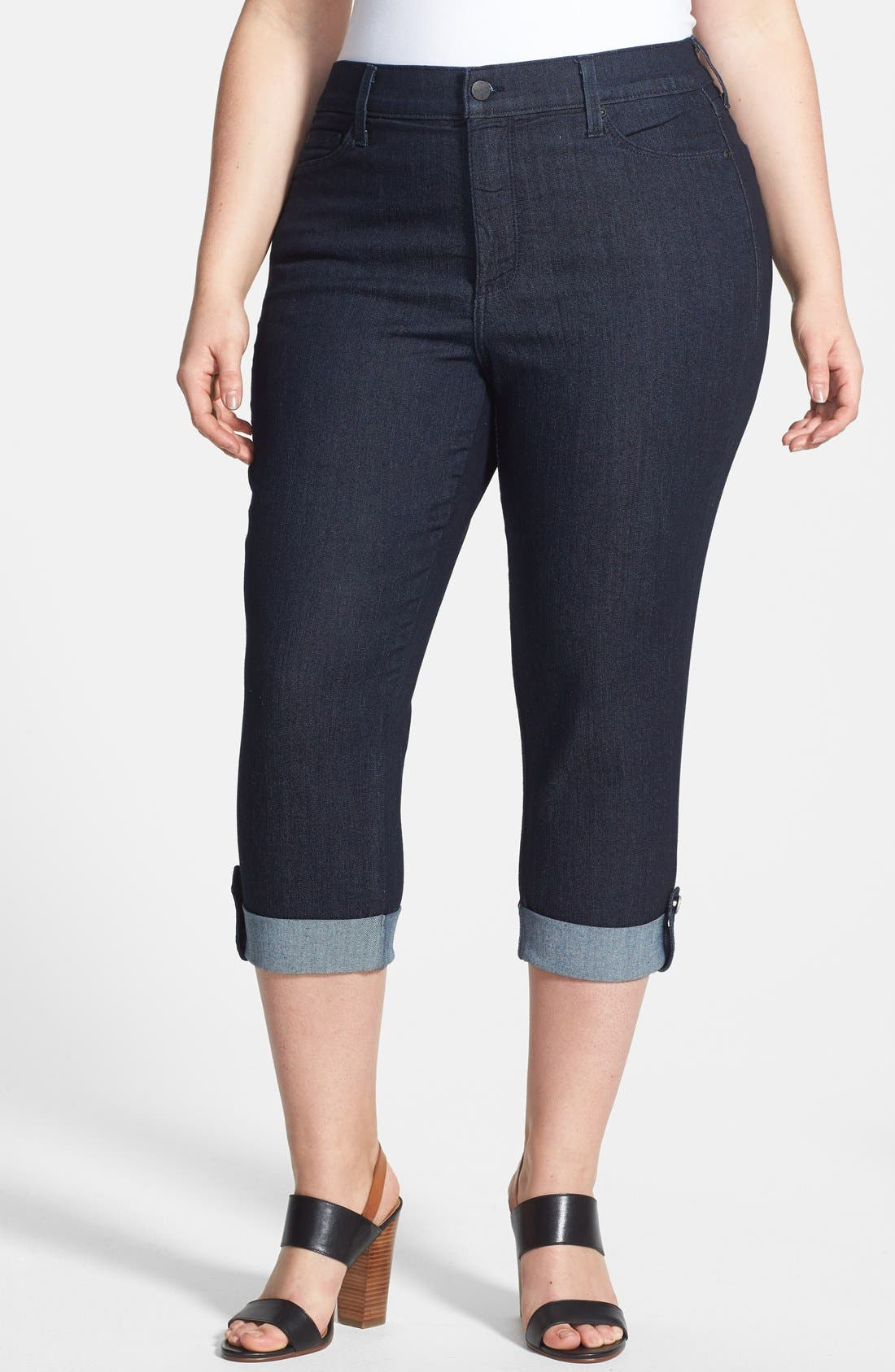 Alternate Image 1 Selected - NYDJ 'Lyris' Cuffed Stretch Crop Jeans (Dark Enzyme) (Plus Size)