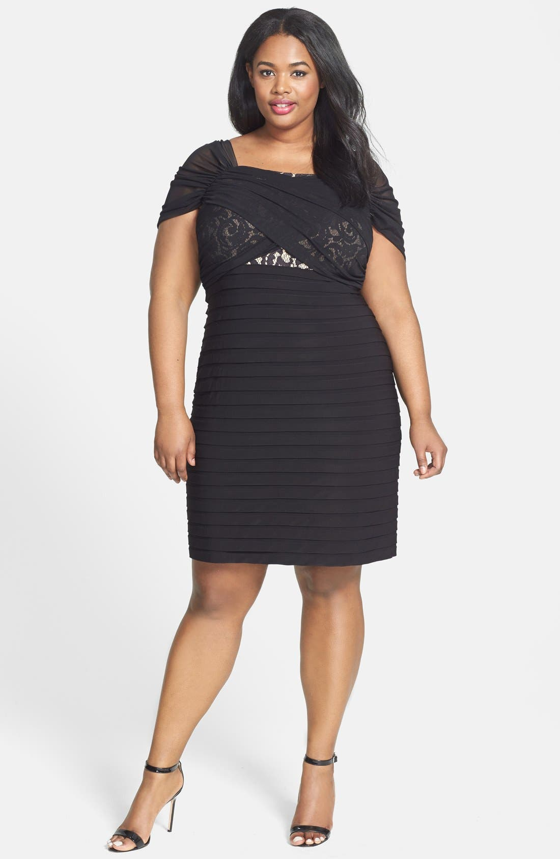 Alternate Image 1 Selected - Adrianna Papell Shirred Front Lace & Jersey Shutter Pleat Dress (Plus Size)