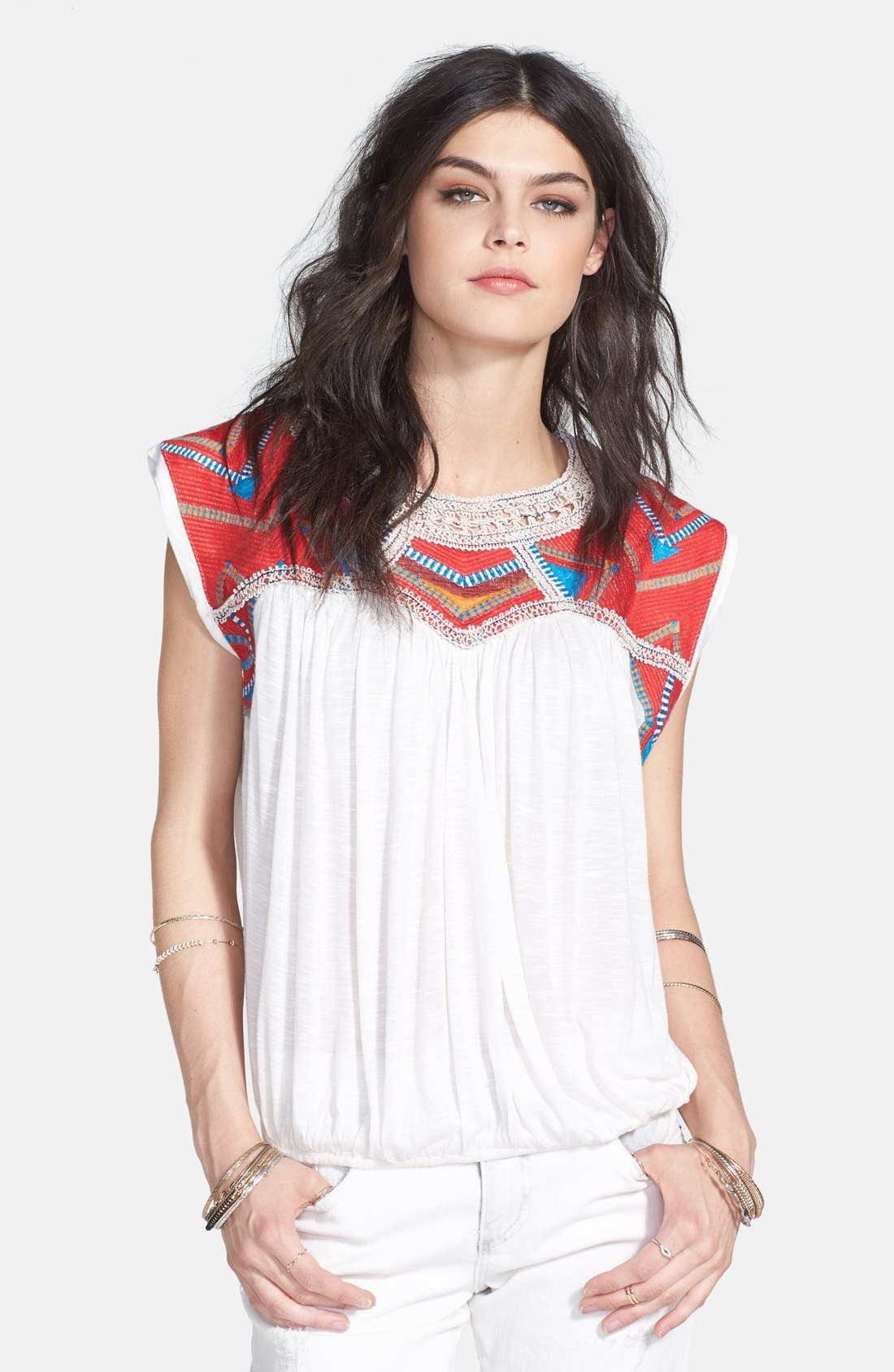 Main Image - Free People 'Tribal Disco' Embroidered Yoke Top