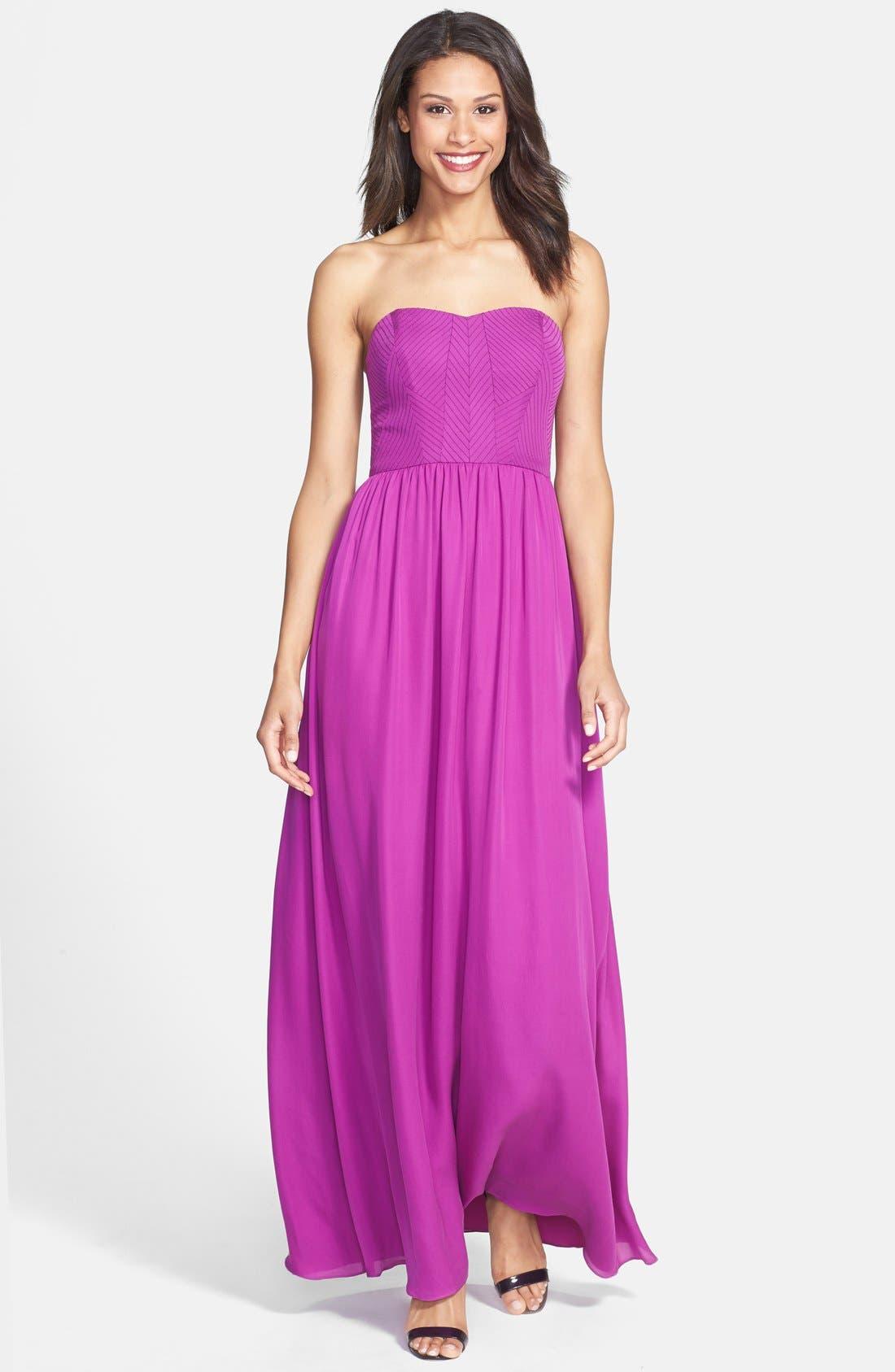 Alternate Image 1 Selected - Nicole Miller Stitch Detail Silk Maxi Dress