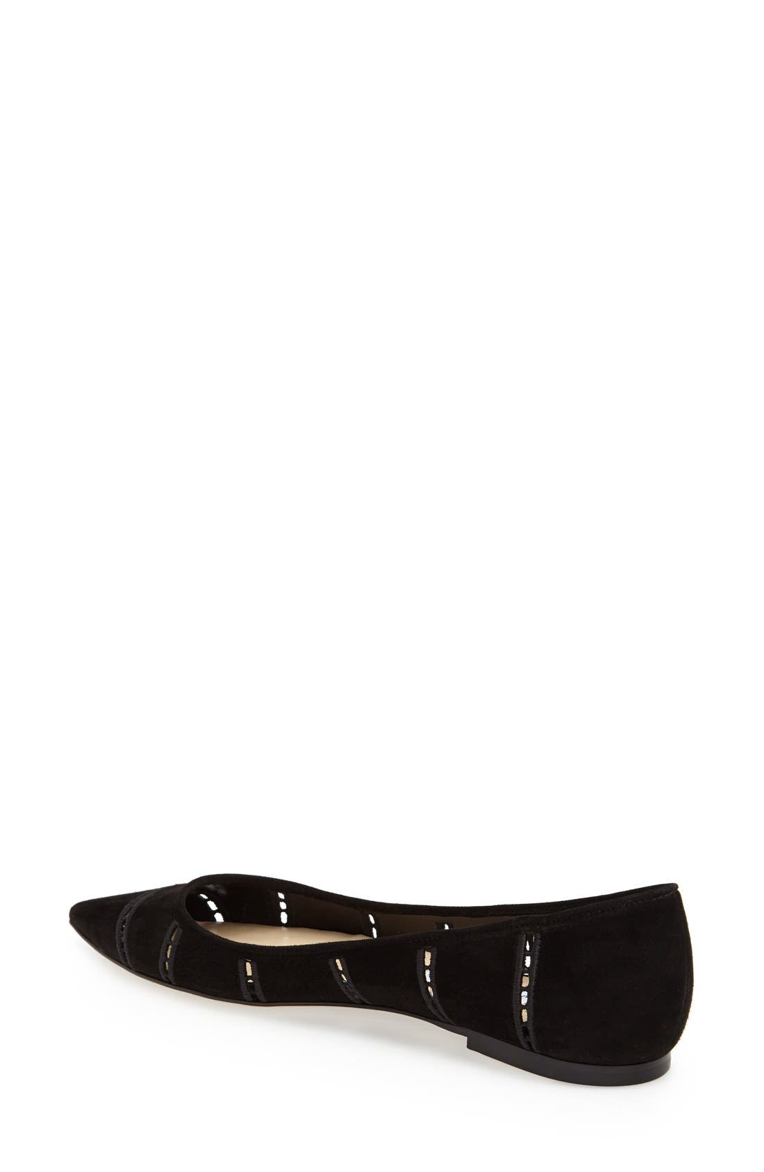 Alternate Image 2  - Jimmy Choo 'Alina' Pointy Toe Perforated Broderie Anglaise Suede Flat (Women)