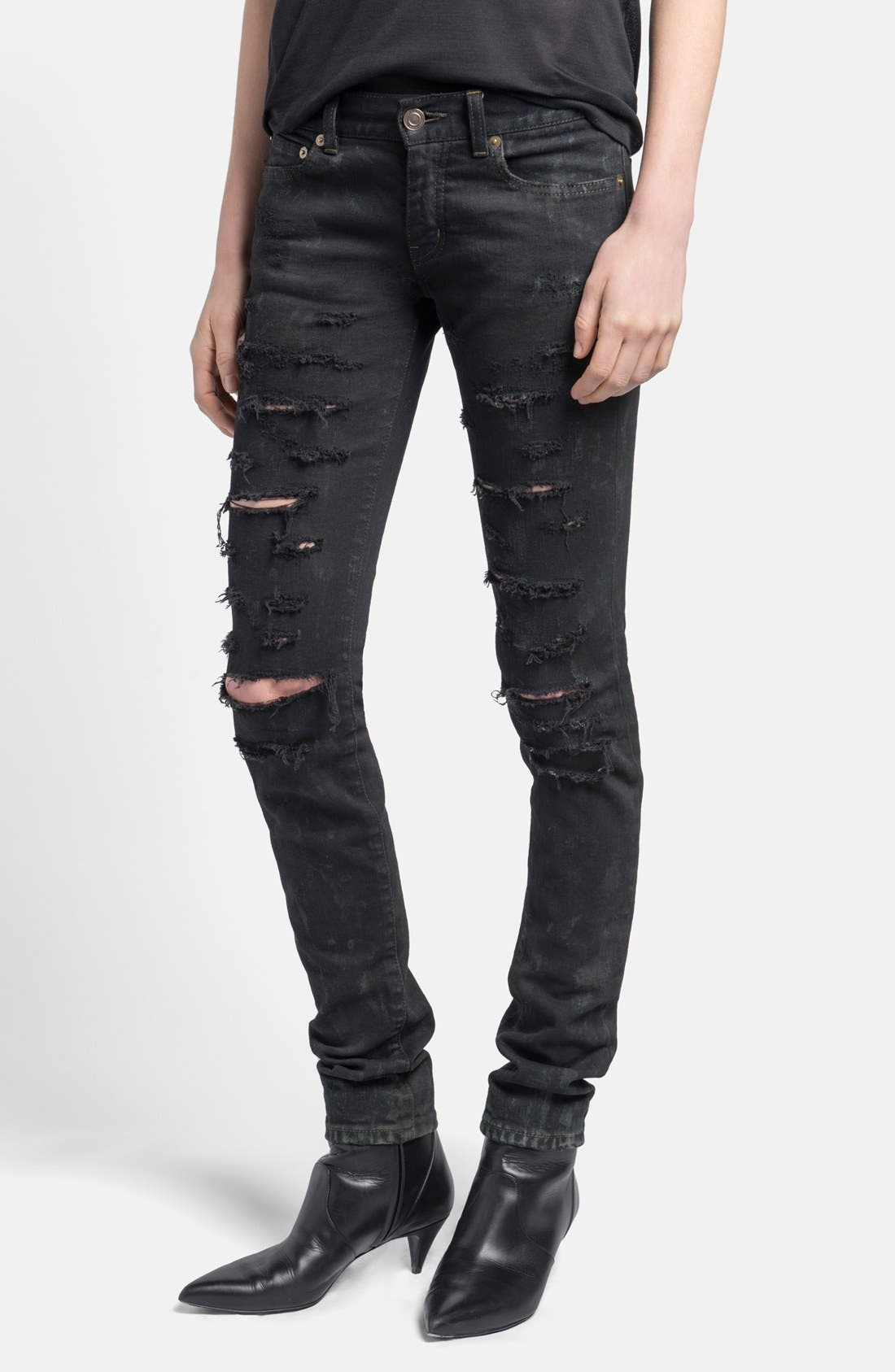 Main Image - Saint Laurent Ripped Skinny Jeans