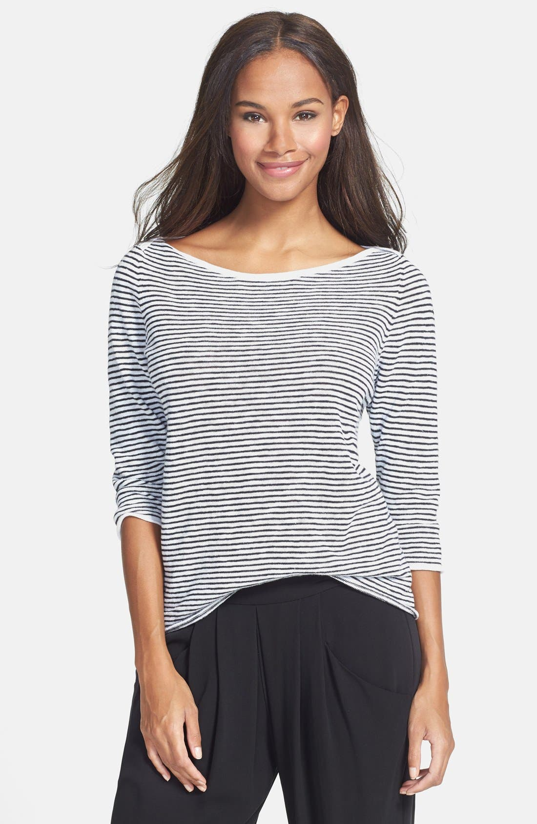 Alternate Image 1 Selected - Eileen Fisher Boatneck Stripe Sweater