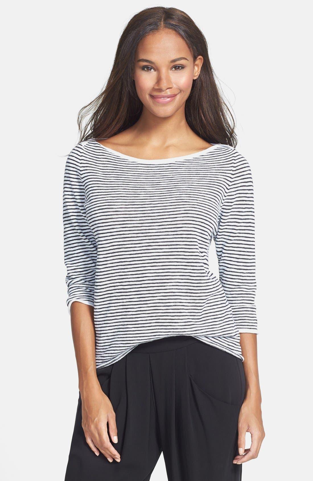 Main Image - Eileen Fisher Boatneck Stripe Sweater