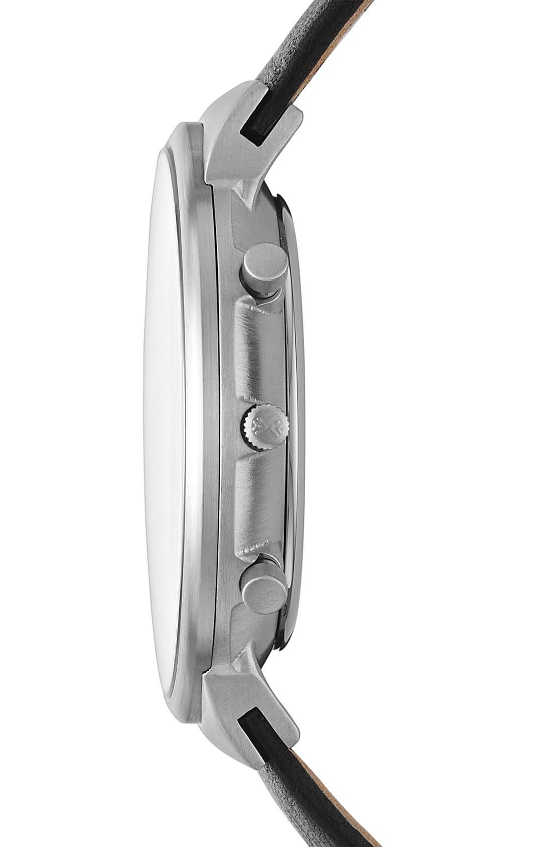 Alternate Image 3  - Skagen 'Ancher' Round Chronograph Leather Strap Watch, 40mm