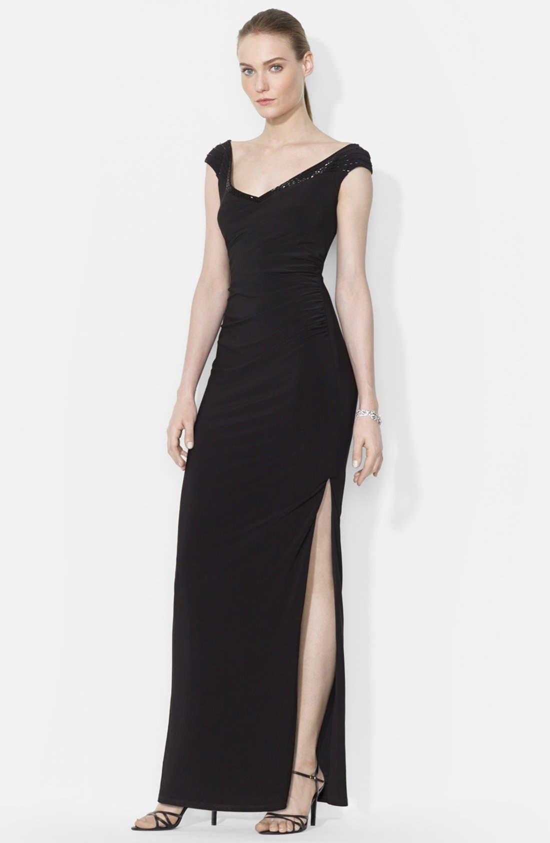 Main Image - Lauren Ralph Lauren Beaded Cap Sleeve Evening Gown