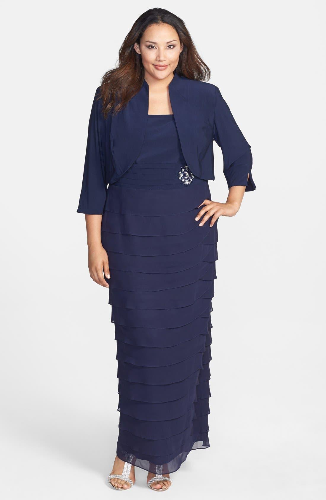Alternate Image 1 Selected - Jessica Howard Embellished Waist Artichoke Pleat Gown & Jacket (Plus Size)