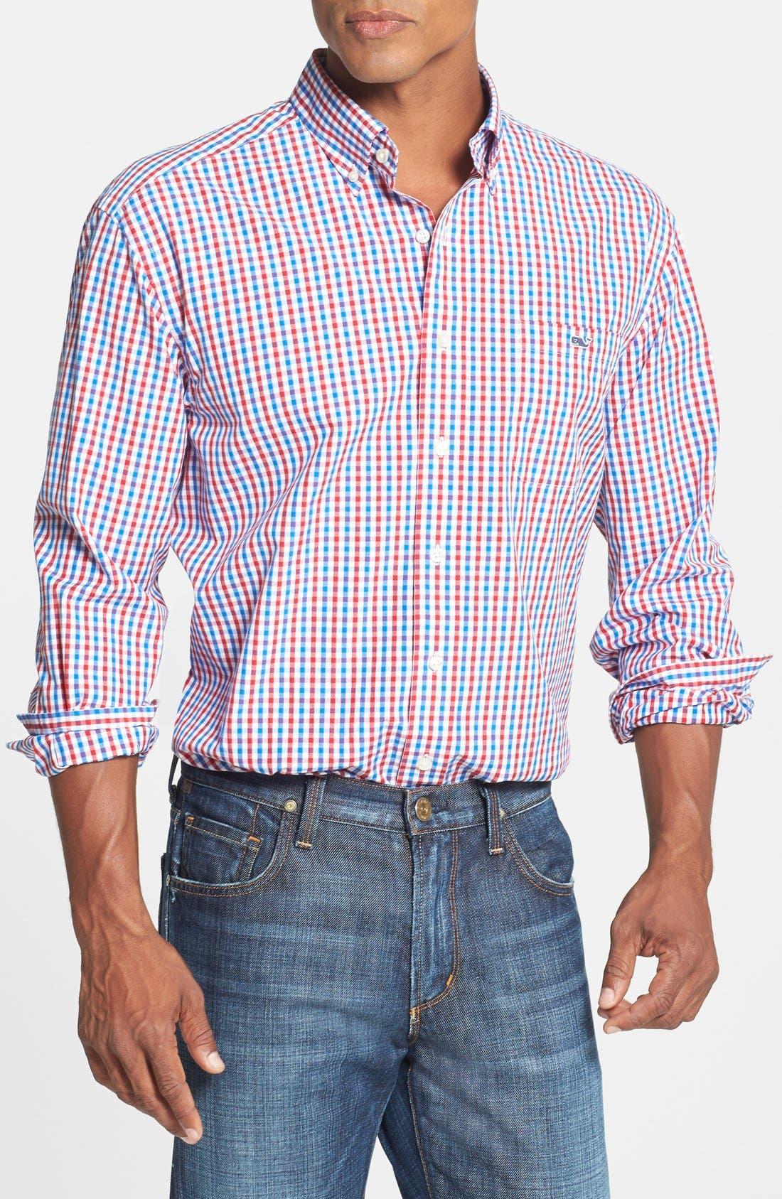 Main Image - Vineyard Vines 'Tucker - Bailey's Bay' Classic Fit Tattersall Sport Shirt