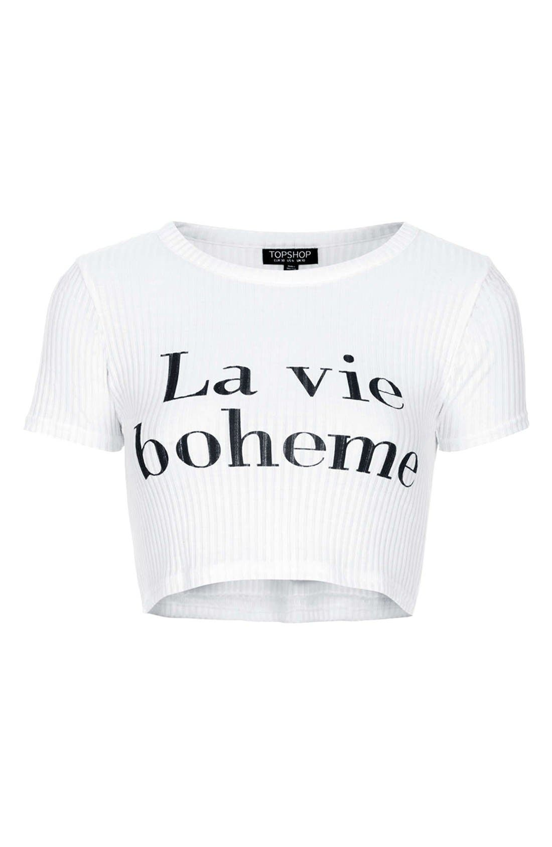 Alternate Image 3  - Topshop 'La Vie Boheme' Ribbed Crop Tee