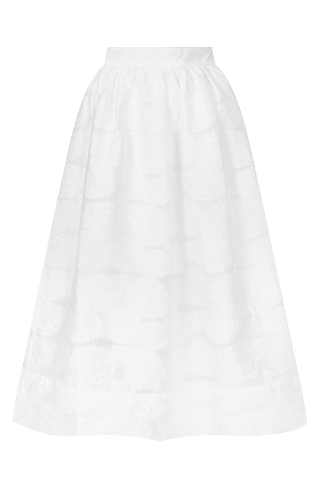 Alternate Image 3  - Topshop Rose Jacquard Midi Skirt