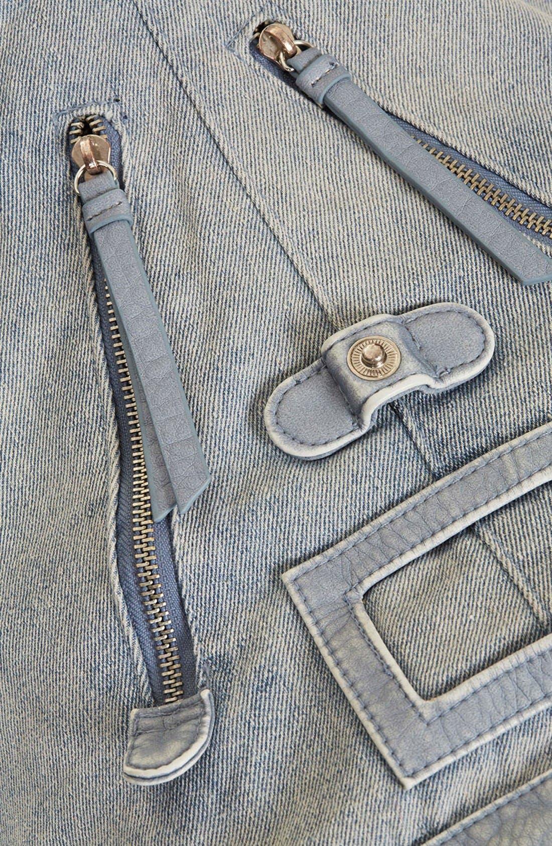 Alternate Image 2  - Topshop Zip Front Denim Backpack