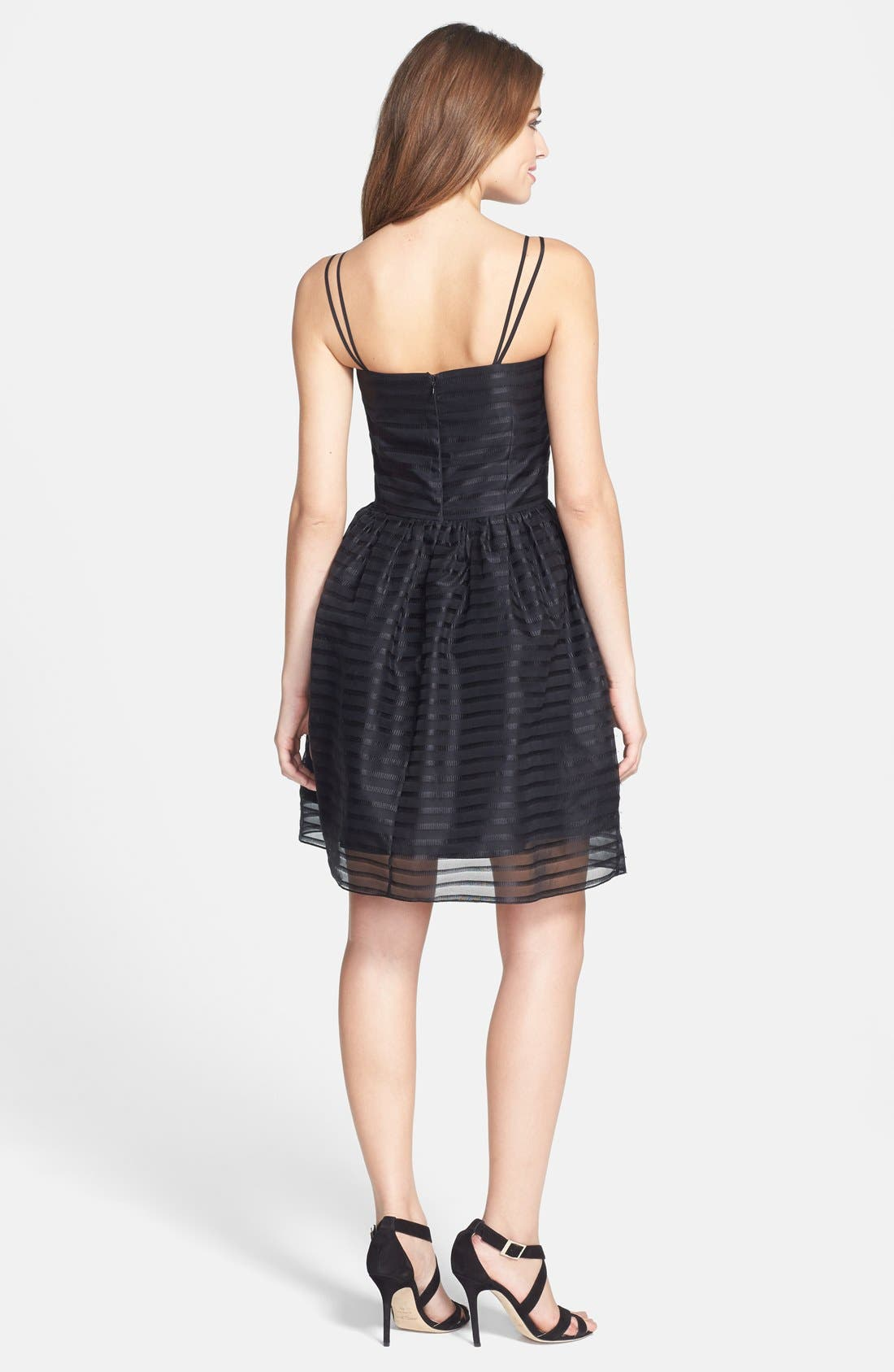 Alternate Image 2  - Shoshanna 'Chelsea' Ribbon Stripe Silk Organza Fit & Flare Dress