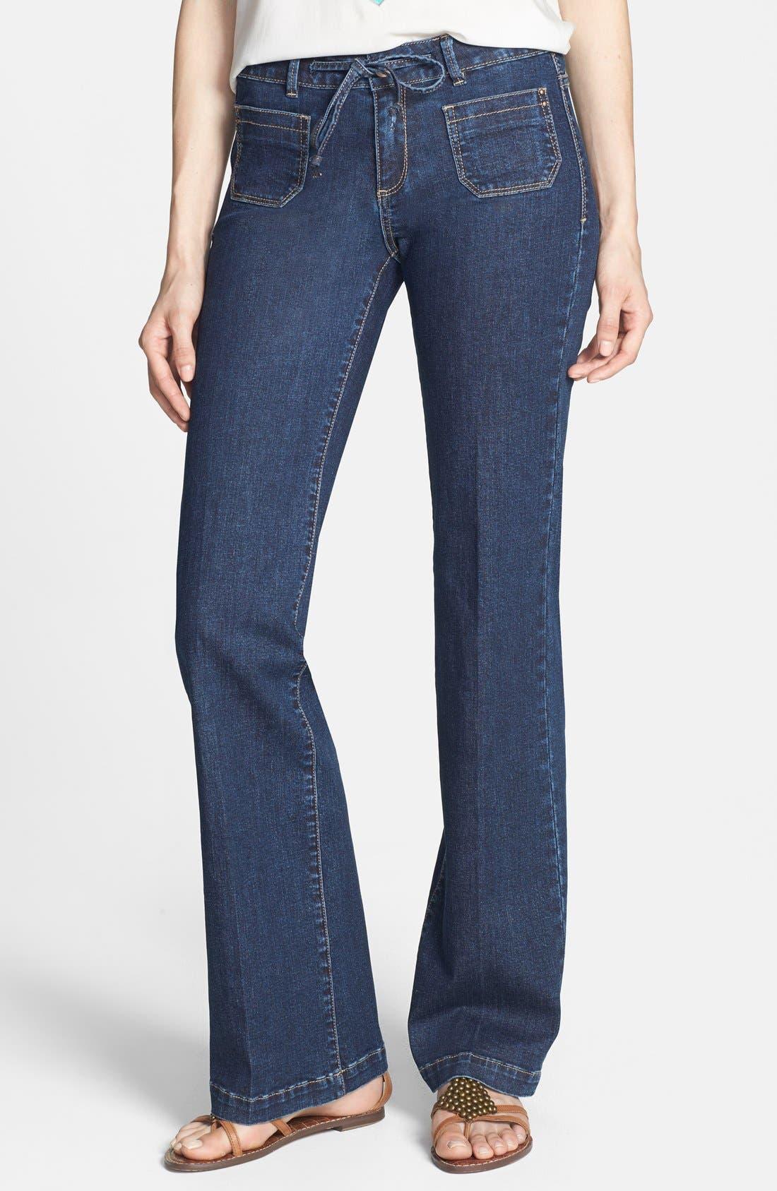 Alternate Image 1 Selected - HART Denim 'Pheona' Wide Leg Trouser Jeans (Carbon) (Juniors)