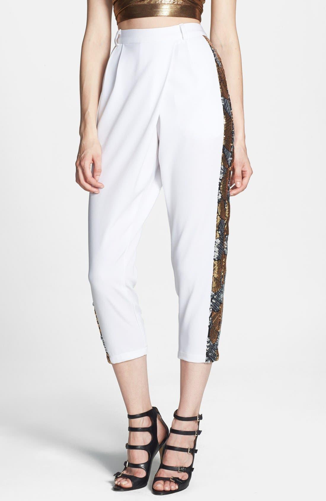 Alternate Image 1 Selected - Rules of Etiquette Sequin Tuxedo Stripe Crop Pants