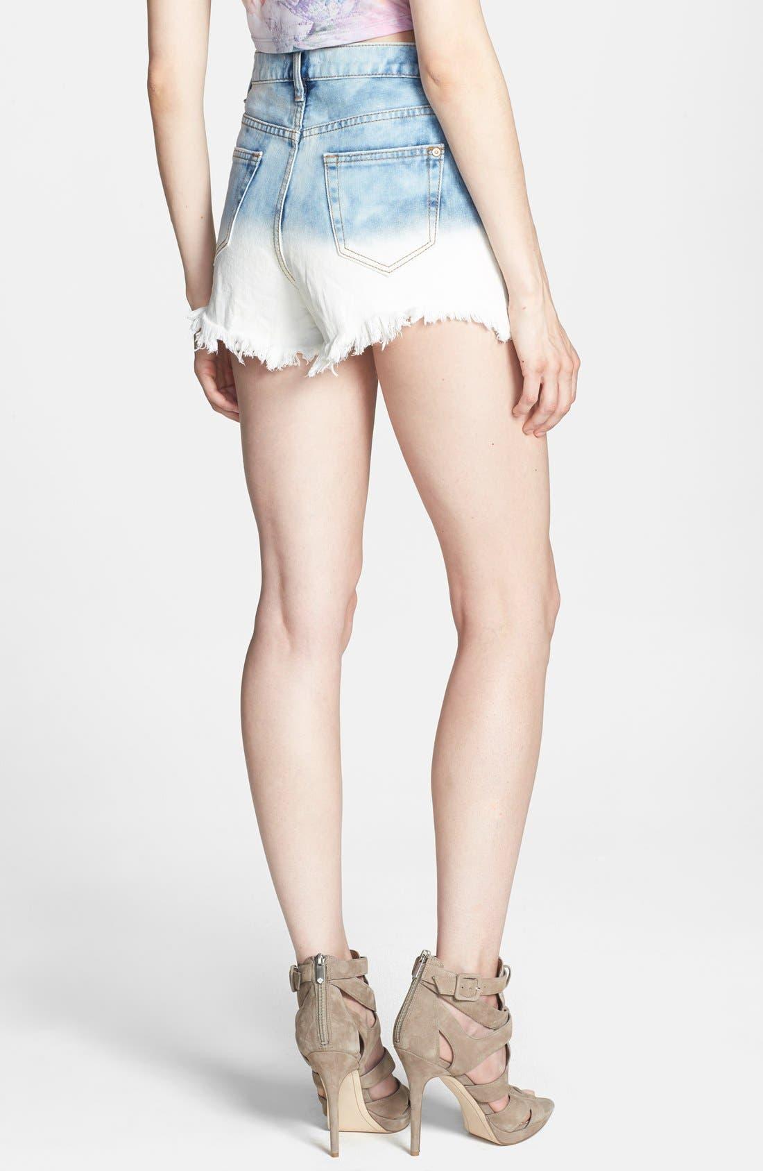 Alternate Image 2  - Glamorous High Rise Cutoff Denim Shorts (Blue Dip Dye)