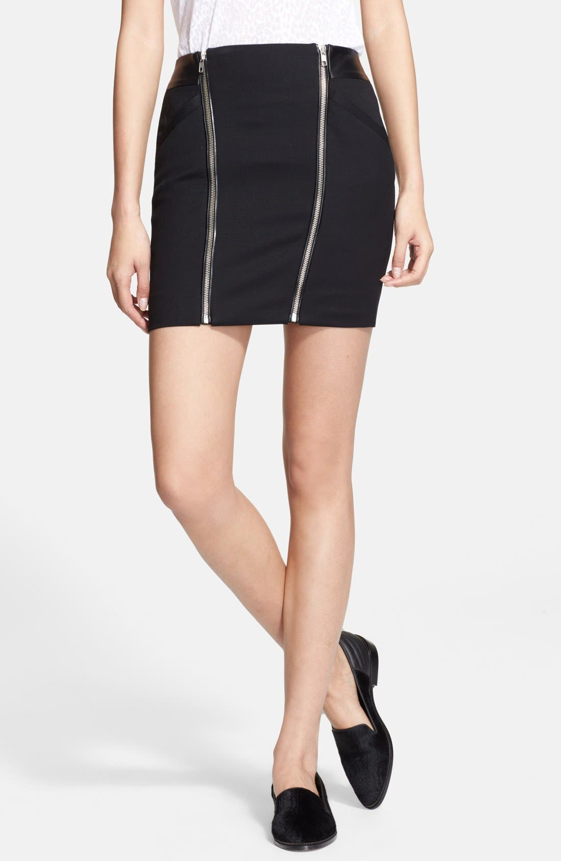 Alternate Image 1 Selected - The Kooples Leather Yoke Zip Detail Miniskirt