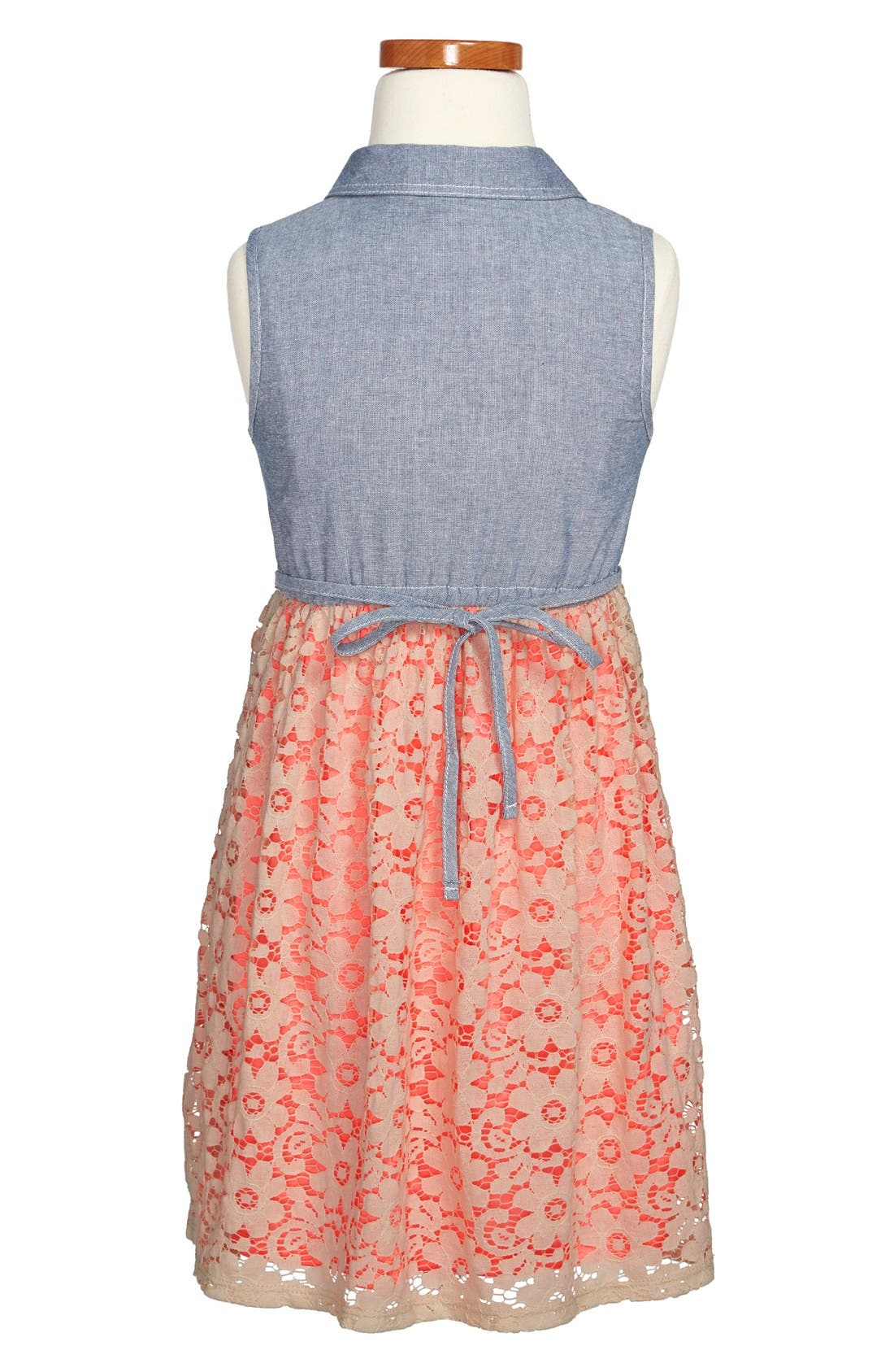 Alternate Image 2  - Zunie Chambray & Lace Dress (Little Girls & Big Girls)