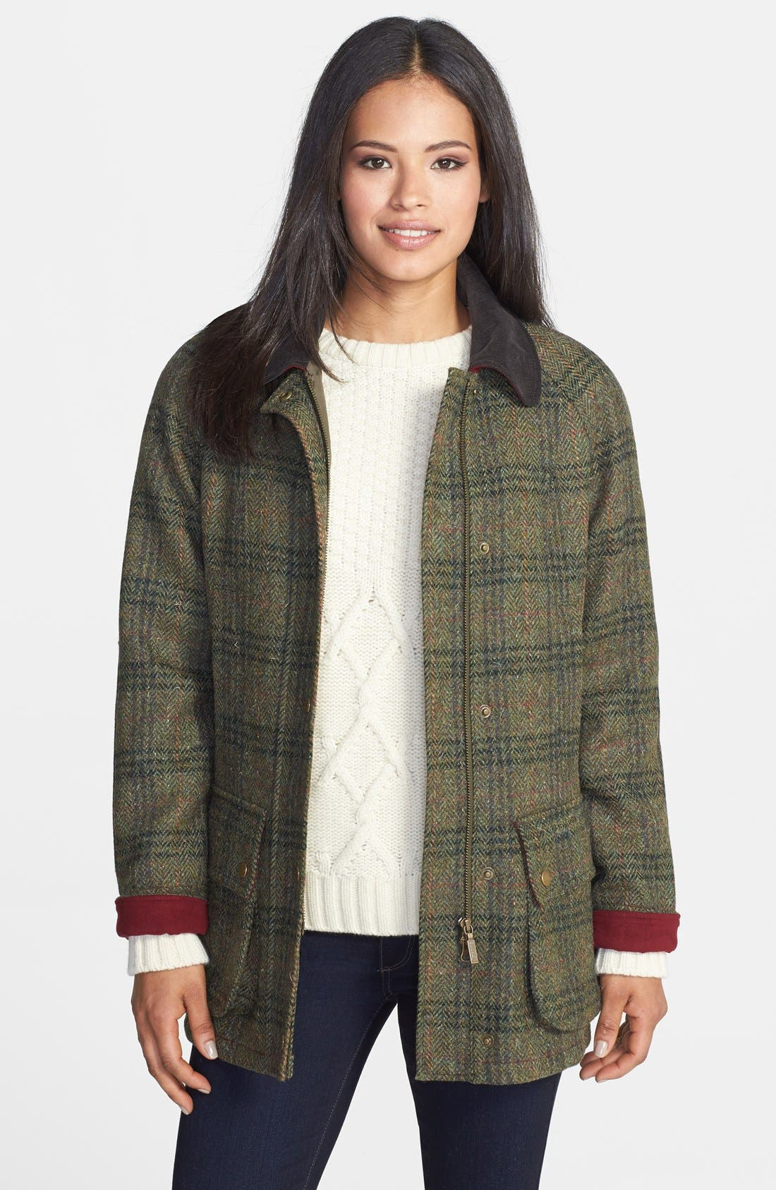 Alternate Image 1 Selected - Barbour 'Beadnell - Edworth Tweed' Plaid Wool Coat