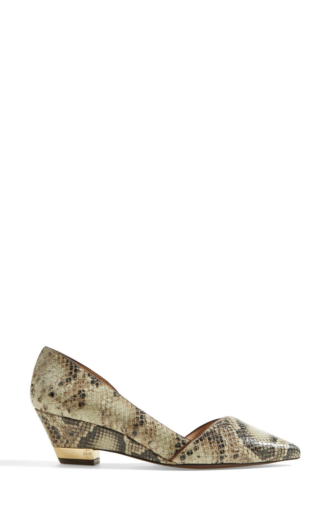 Alternate Image 4  - Tory Burch 'Mila' Snake Embossed Leather Demi Wedge Pump (Women)
