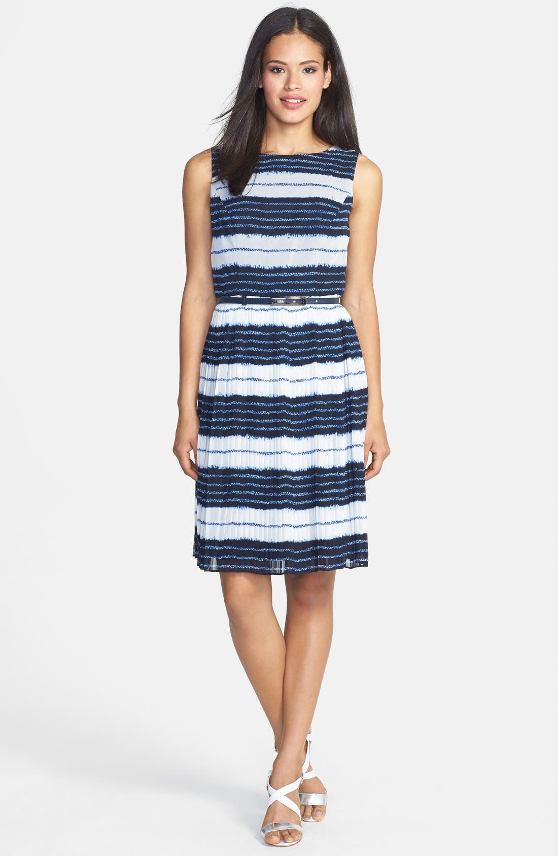 Alternate Image 3  - Adrianna Papell Batik Stripe Print Chiffon Dress