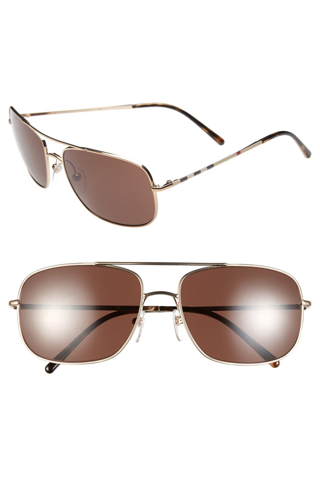 Alternate Image 1 Selected - Burberry 60mm Aviator Sunglasses