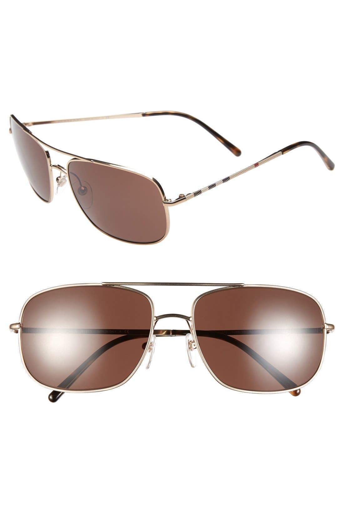 Main Image - Burberry 60mm Aviator Sunglasses