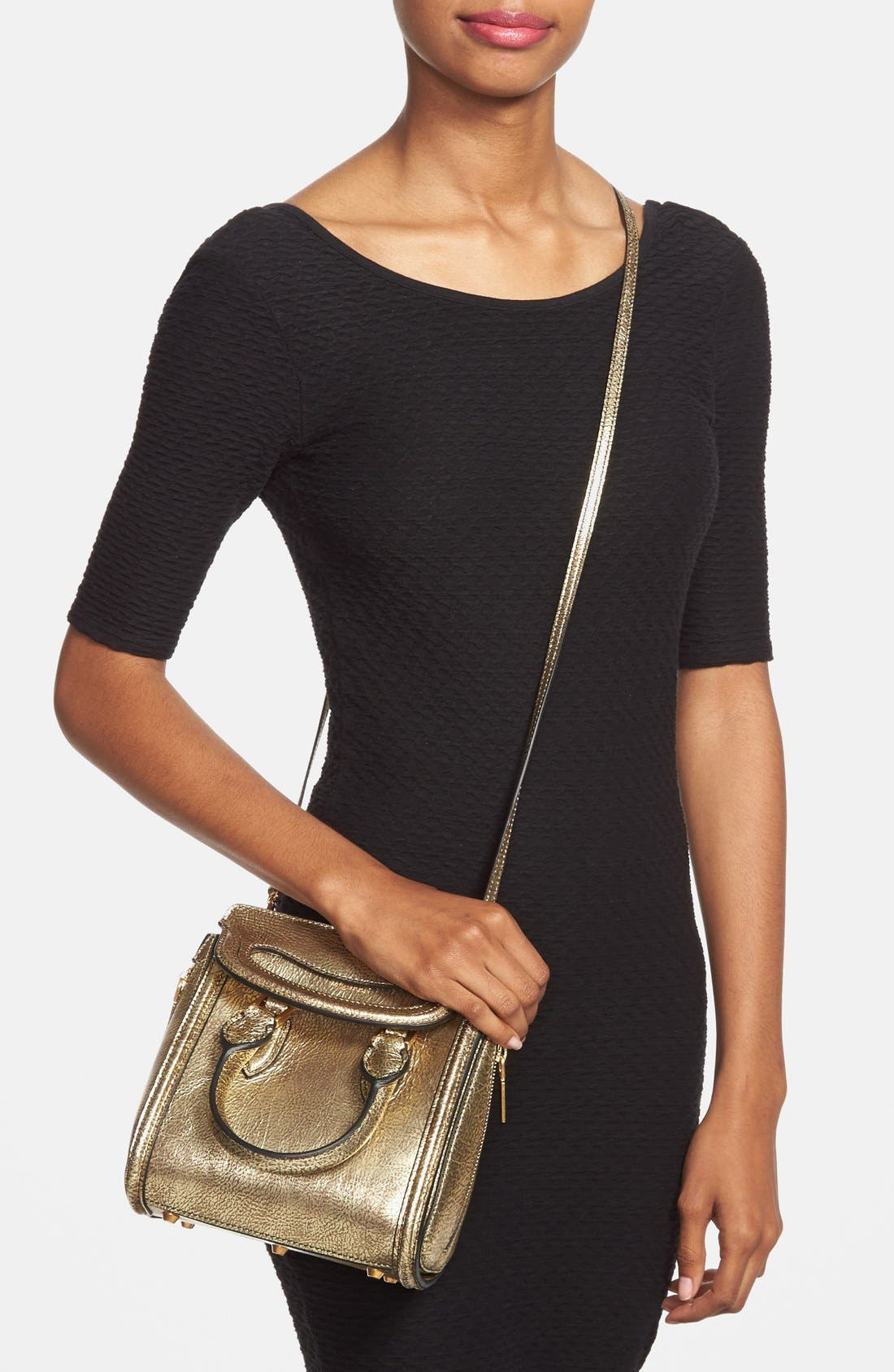 Alternate Image 2  - Alexander McQueen 'Mini Heroine' Metallic Lambskin Leather Crossbody Bag