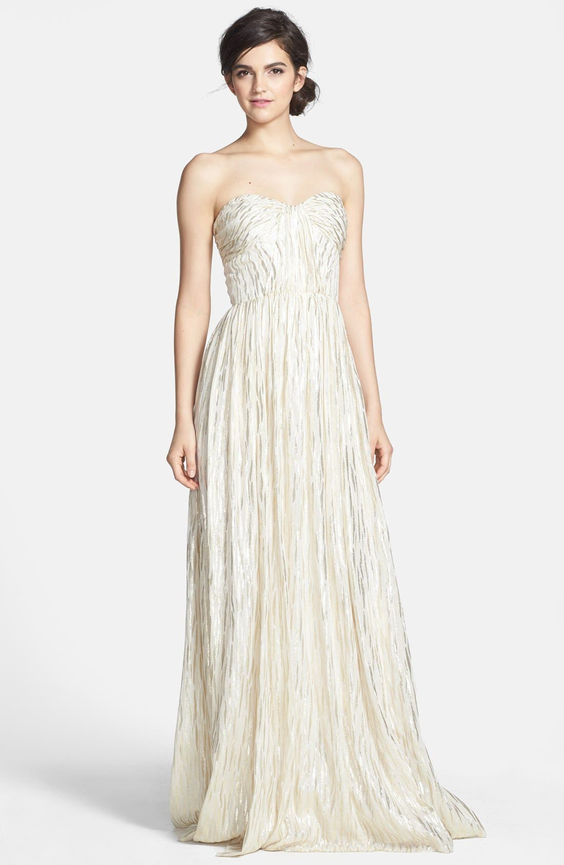 Alternate Image 1 Selected - ERIN erin fetherston 'Coralie' Foiled Silk Chiffon Gown