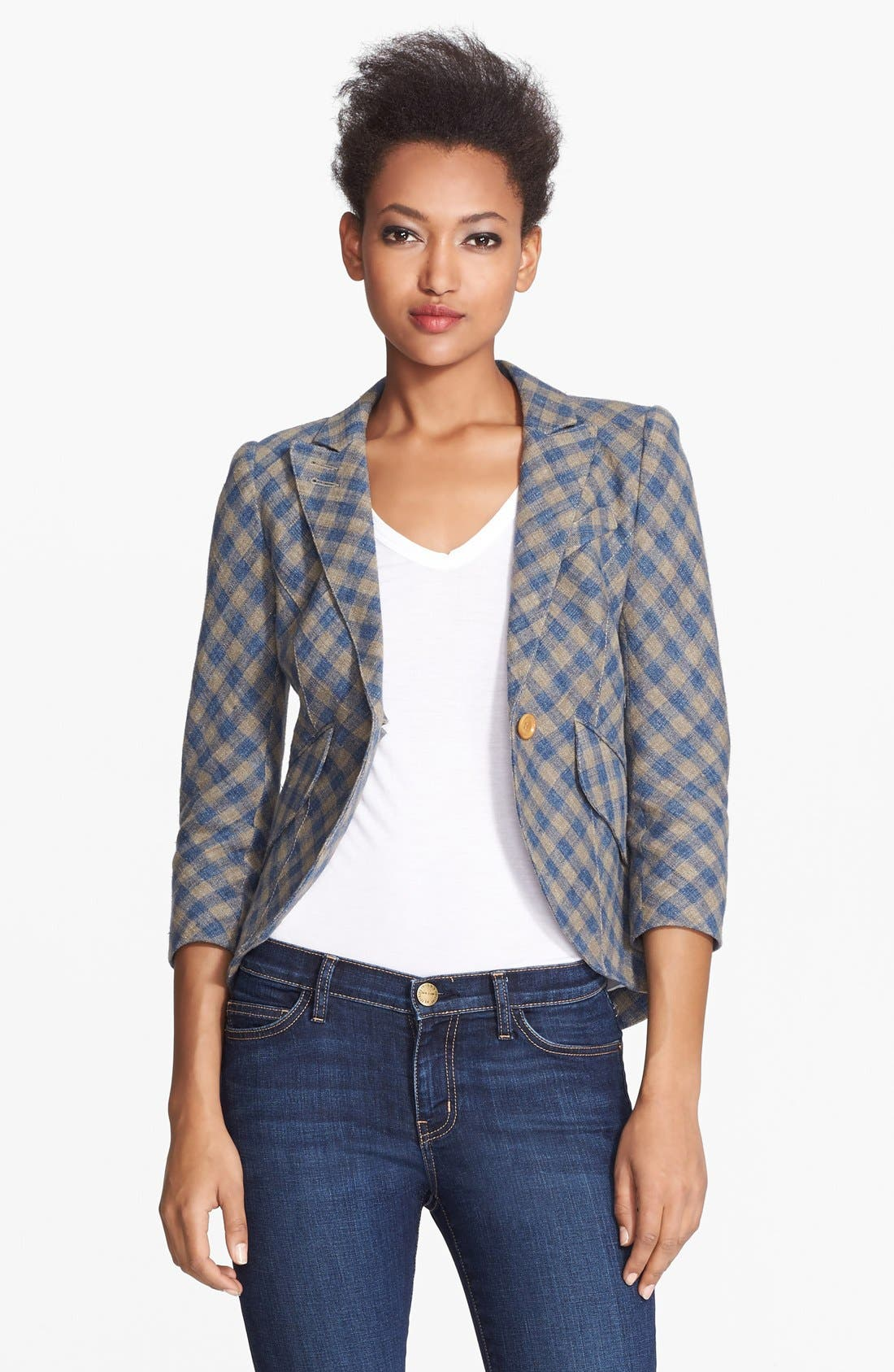 Main Image - Smythe Leather Elbow Patch Check Linen Jacket
