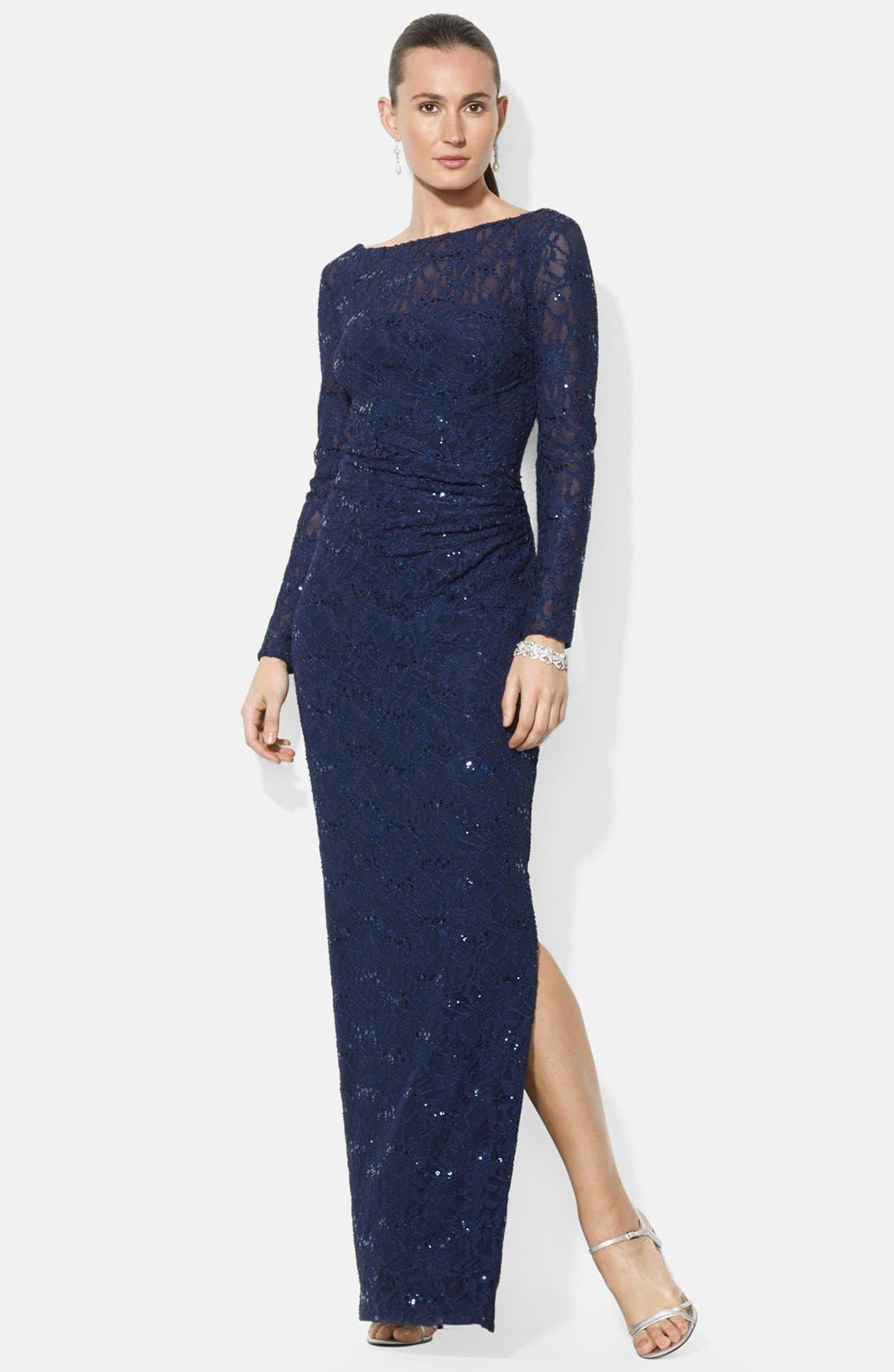 LAUREN RALPH LAUREN Sequin Lace Gown
