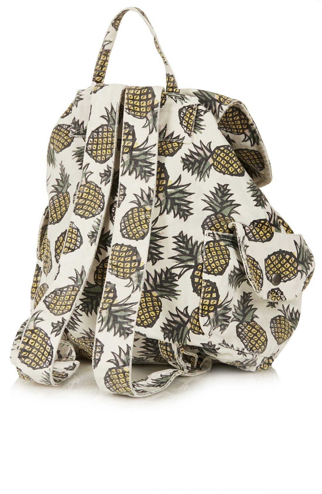 Alternate Image 2  - Topshop Pineapple Print Denim Backpack