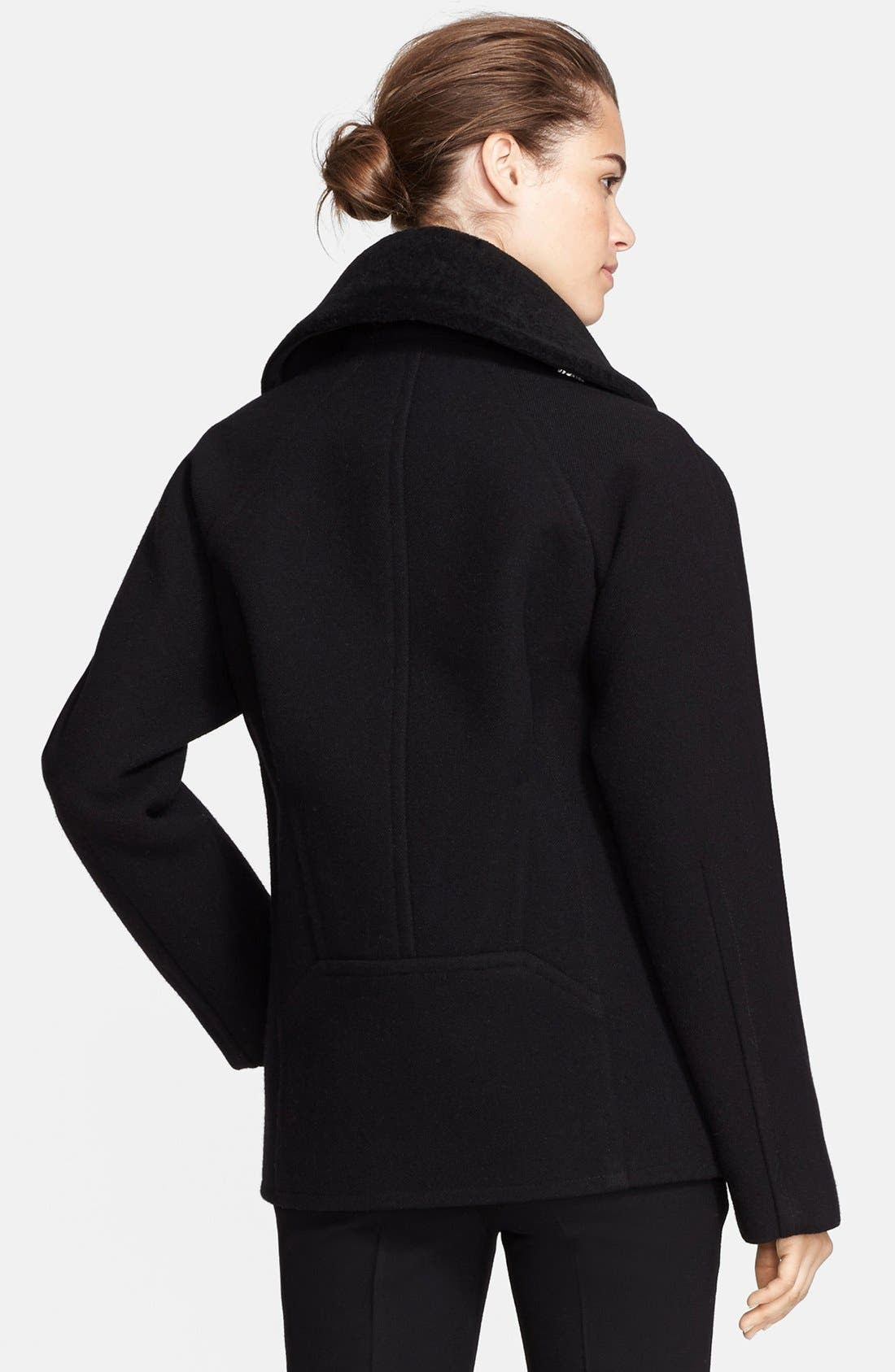 Alternate Image 2  - Jason Wu Felted Wool Blend Coat with Genuine Shearling Collar