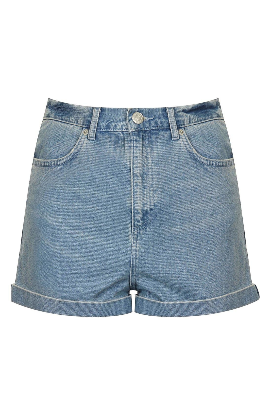 Alternate Image 3  - Topshop Moto 'Mom' High Rise Shorts (Light Denim)