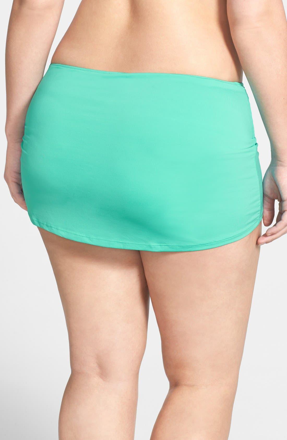 Alternate Image 2  - Cole of California Shirred Skirted Bikini Bottoms (Plus Size)