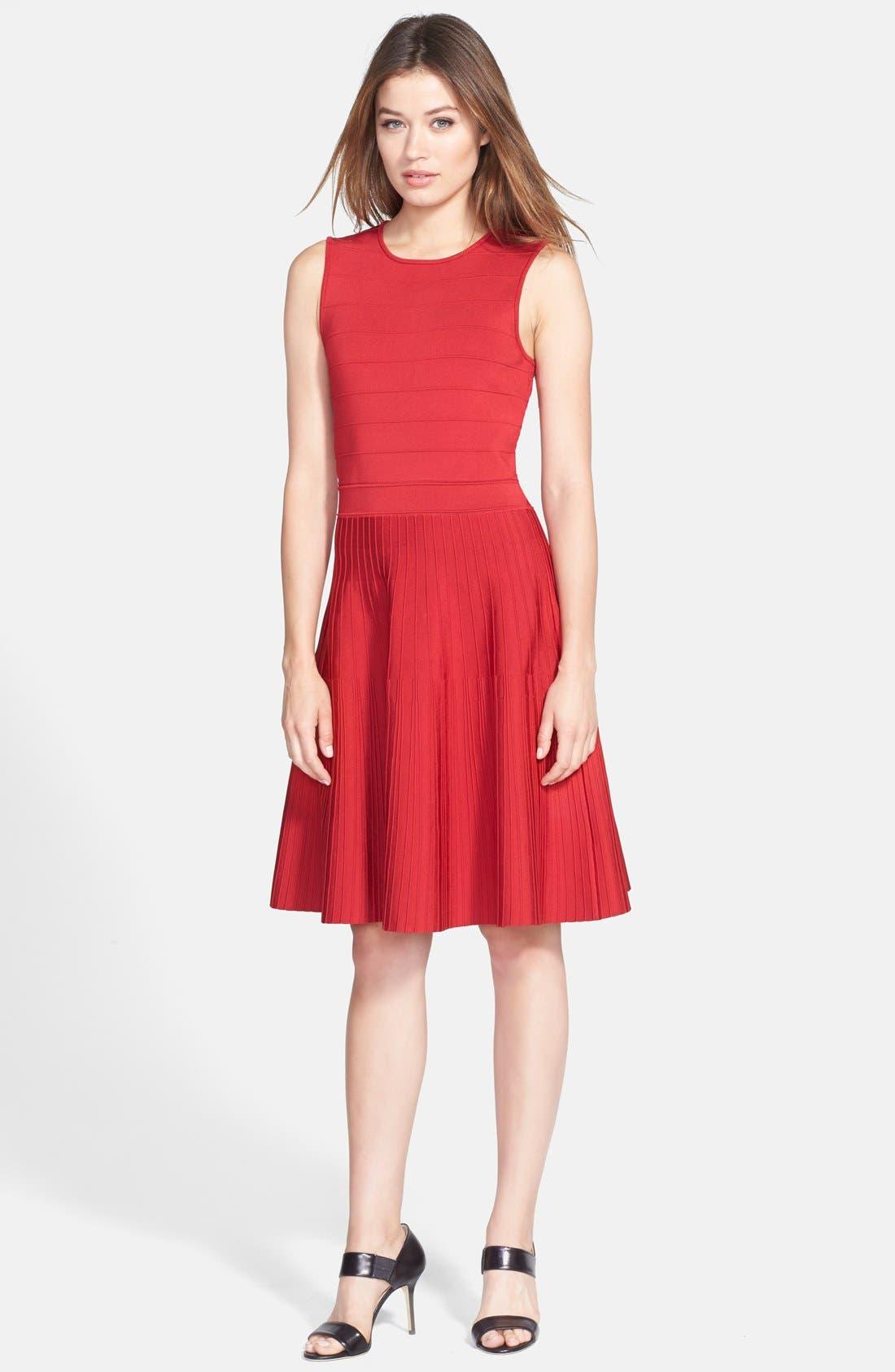 Main Image - Pink Tartan Ribbed Fit & Flare Dress