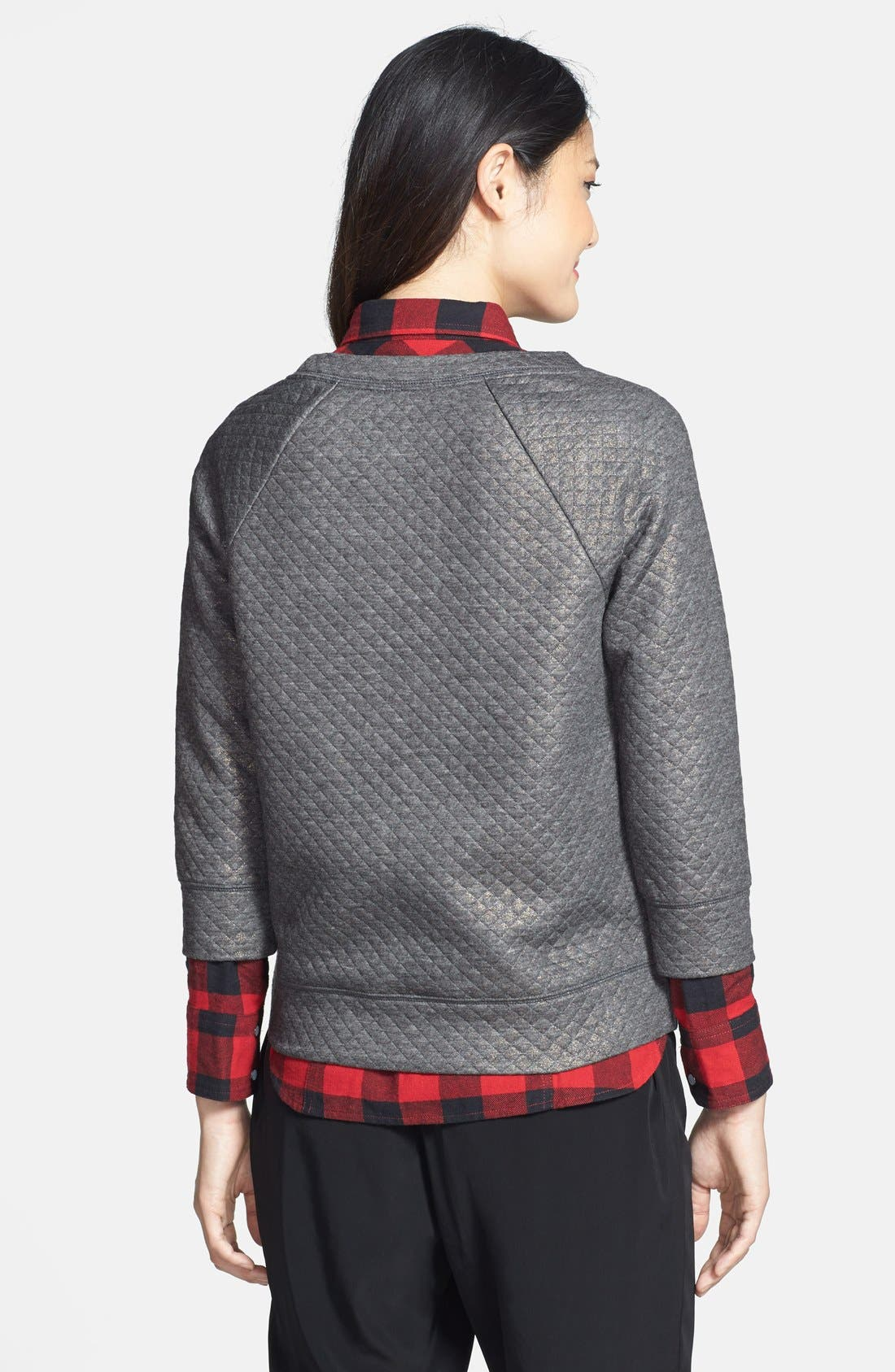 Alternate Image 2  - Halogen® Foiled Sweatshirt (Petite)
