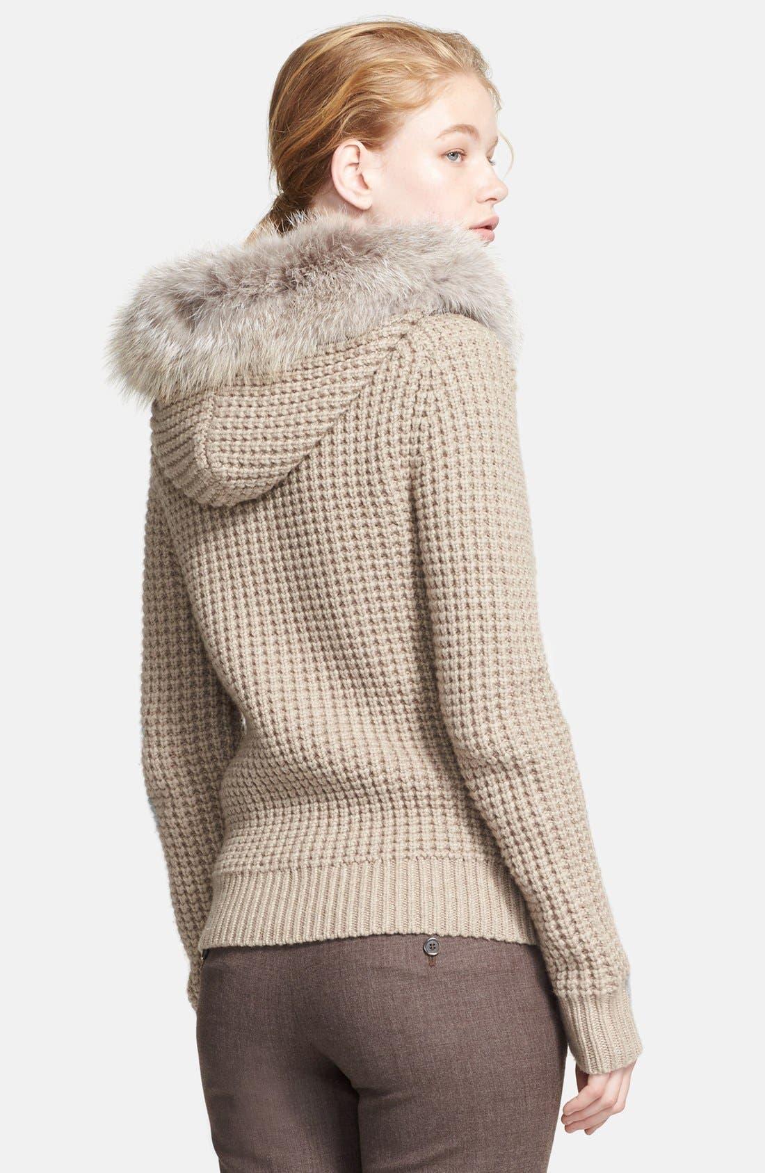 Alternate Image 2  - Michael Kors Zip Front Cashmere Hoodie with Genuine Fox Fur Trim